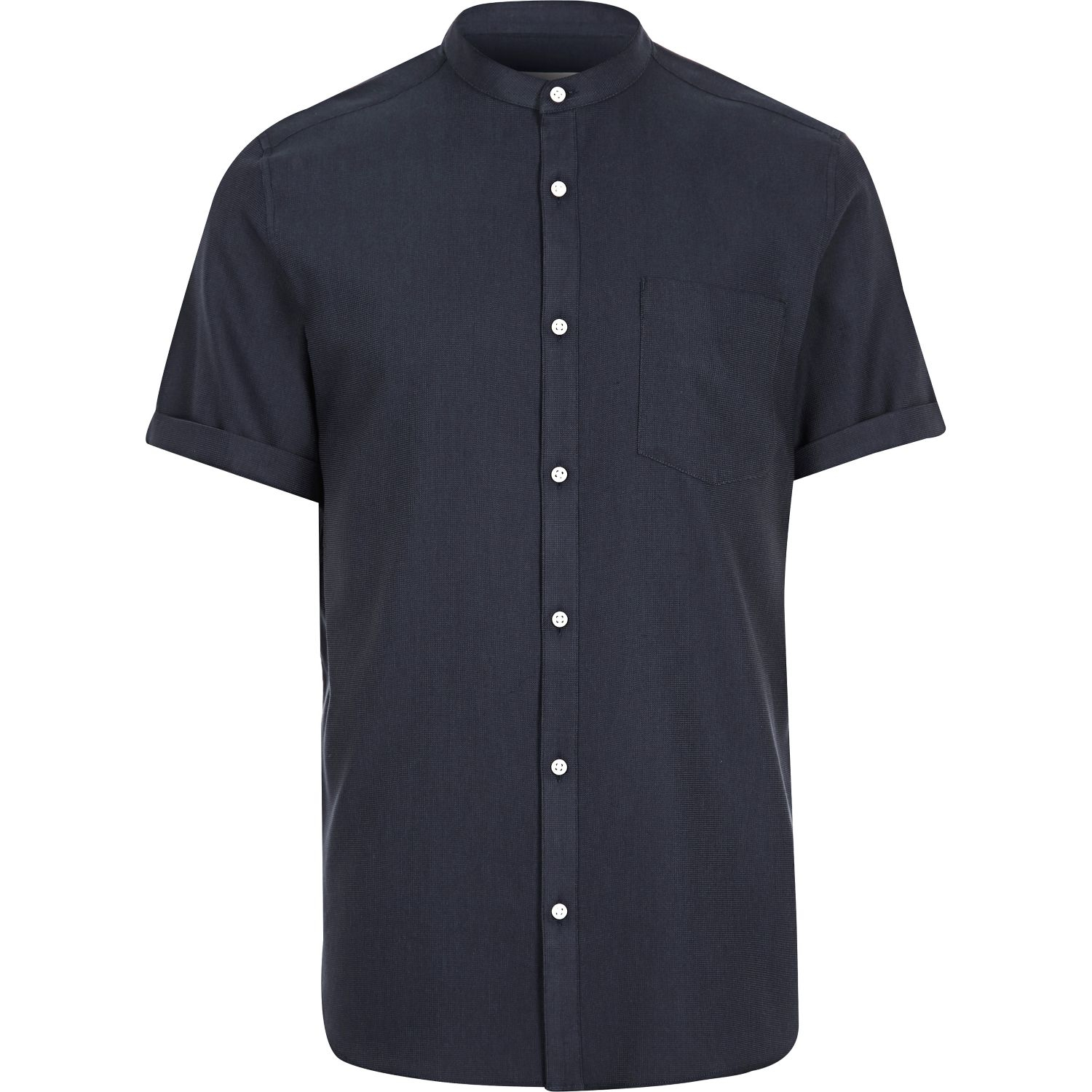 River island navy grandad short sleeve shirt in blue for for Short sleeve grandad shirt
