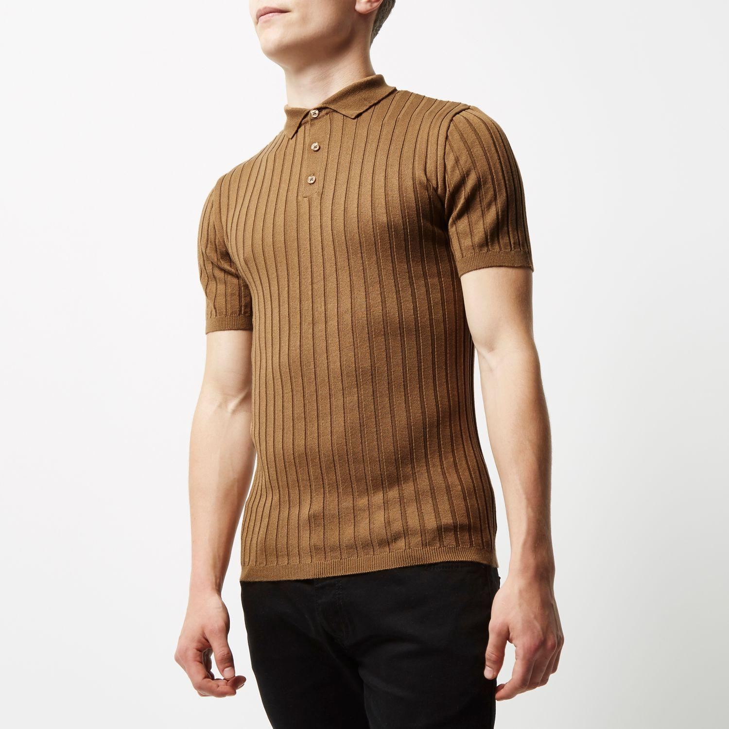 River island light brown ribbed muscle fit polo shirt in for Light brown polo shirt