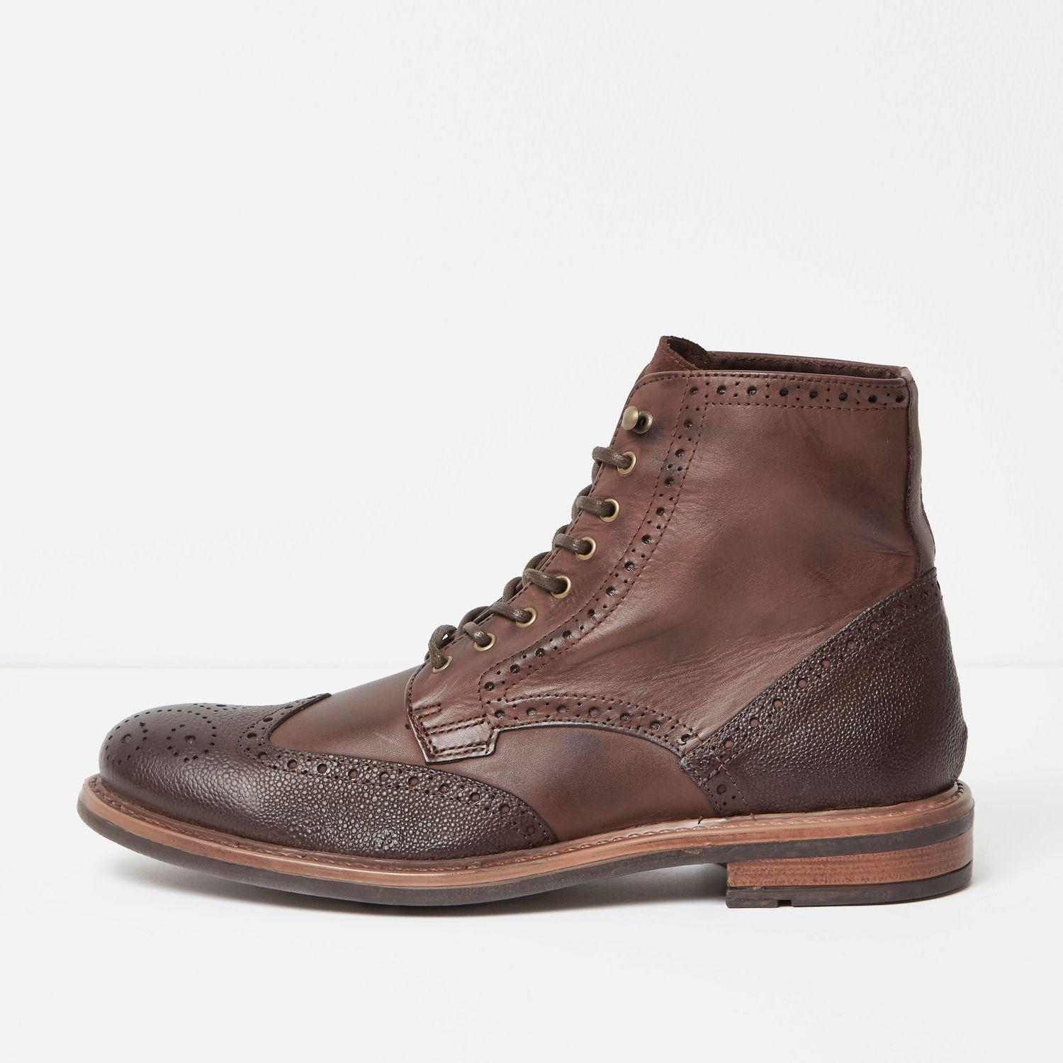 River Island Brown Leather Brogue Boots In Brown For Men