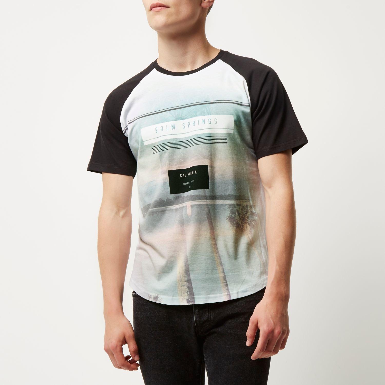 Lyst river island black palm springs print raglan t for T shirt printing in colorado springs