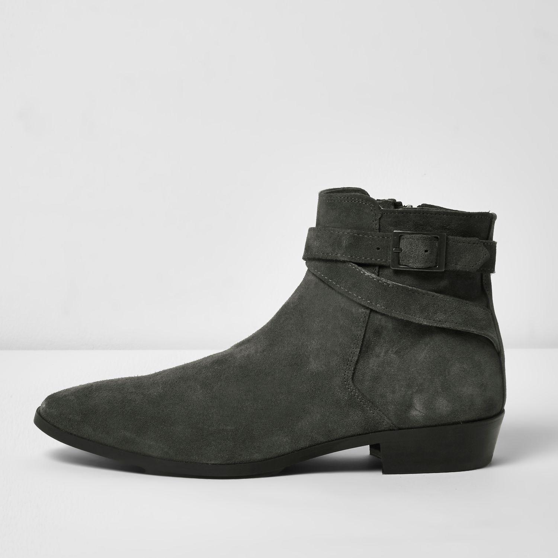 River Island Leather Desert Boots In Dark Grey