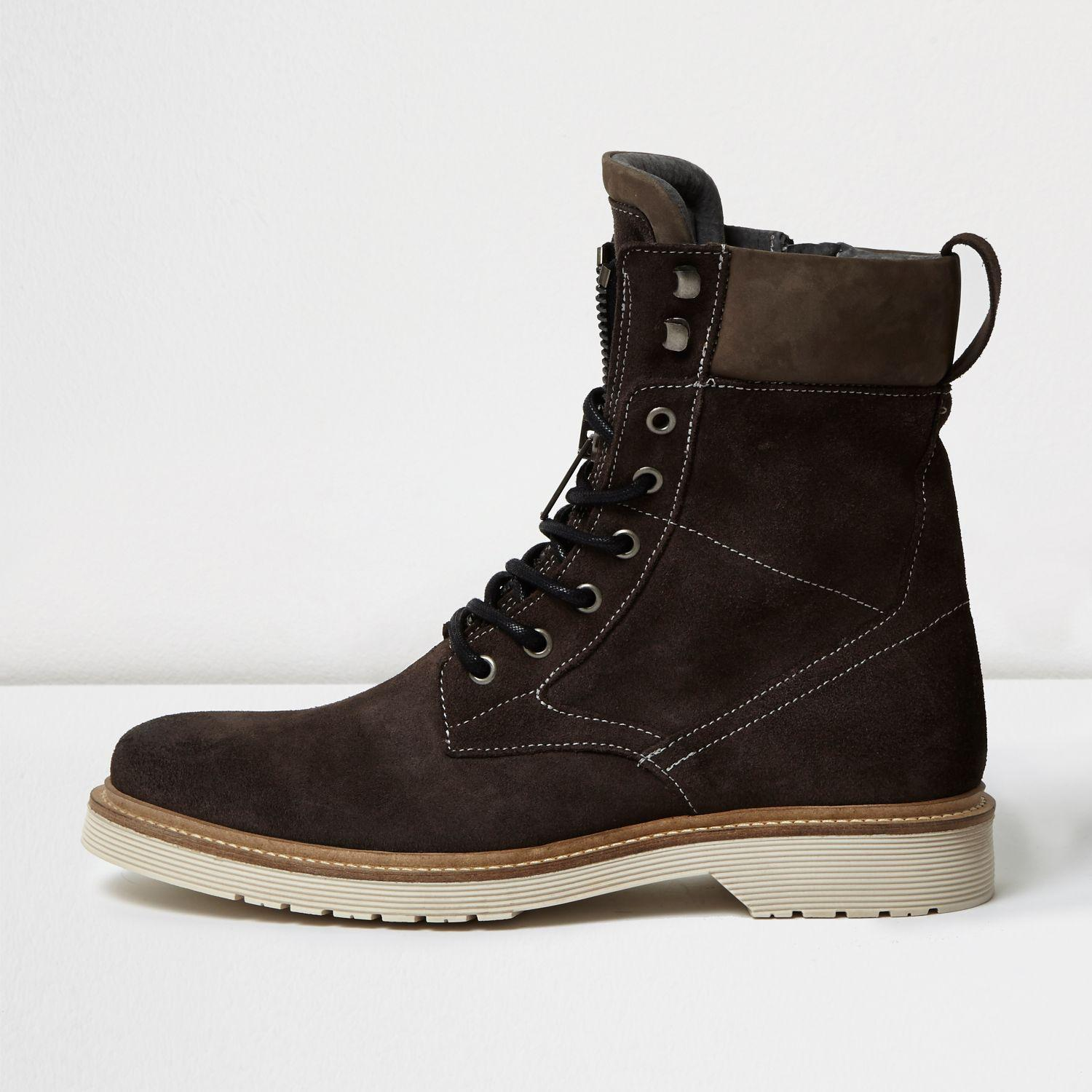 river island grey suede combat boots in gray for