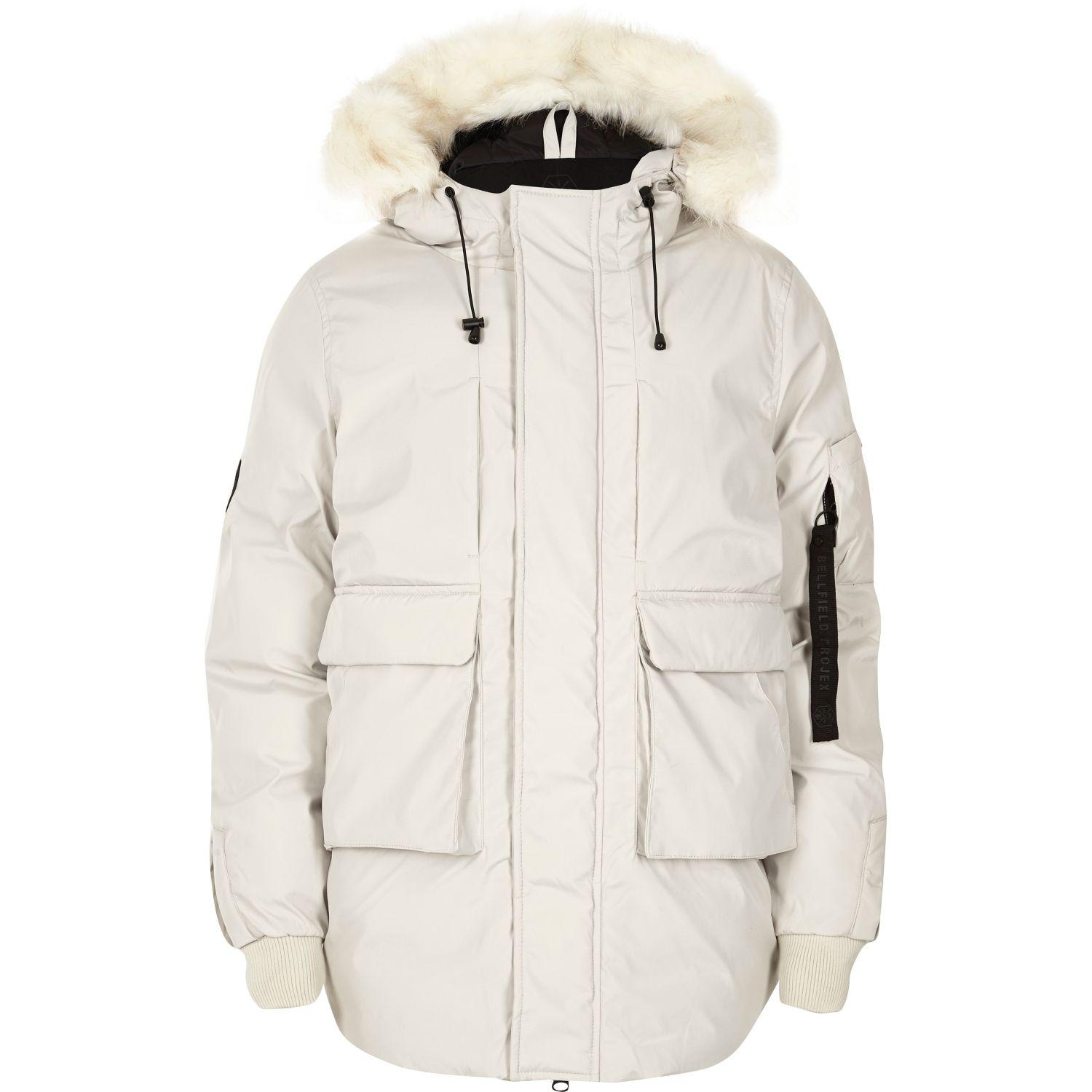 River island White Bellfield Faux Fur Trim Hooded Parka in White ...