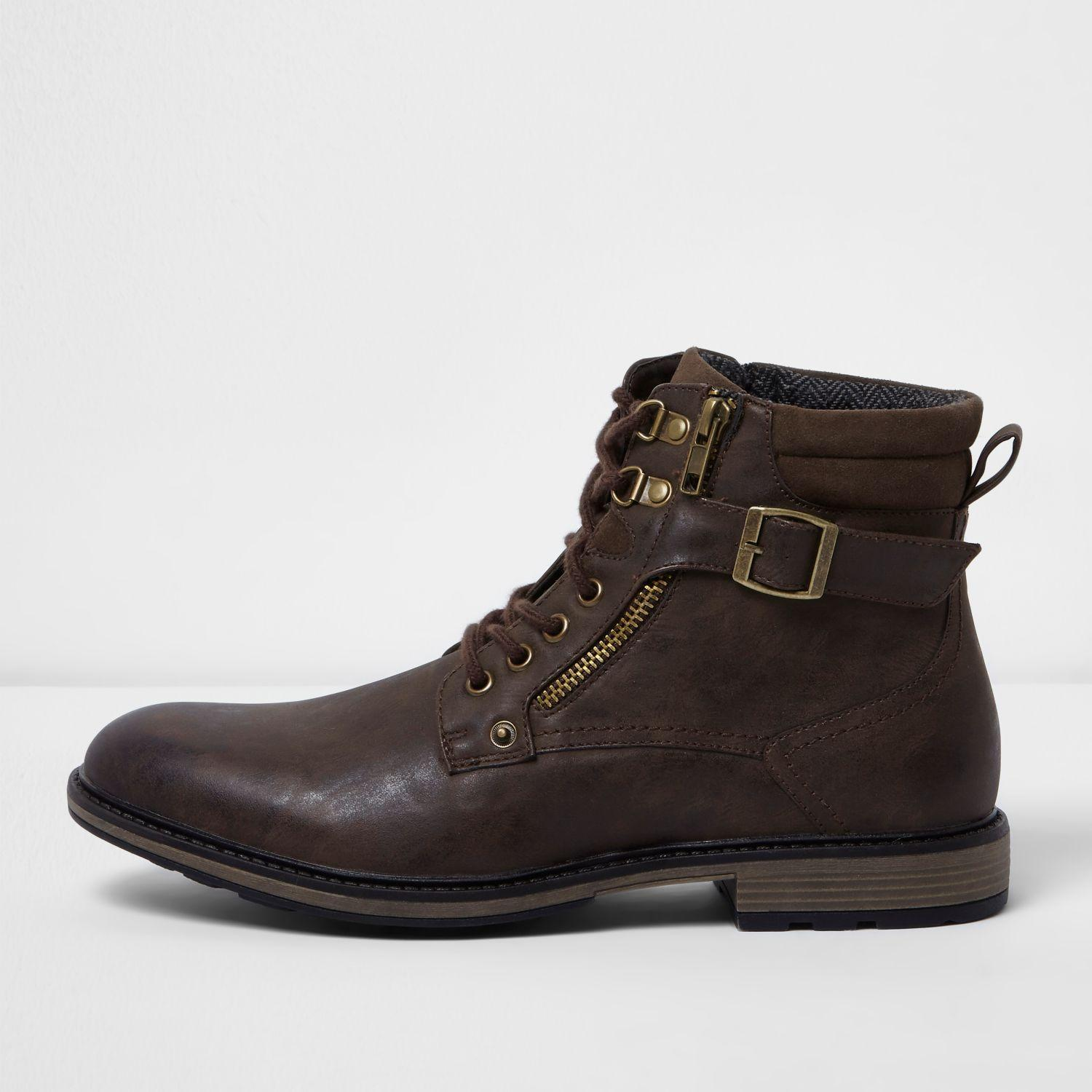River Island Brown Leather Collar Boots