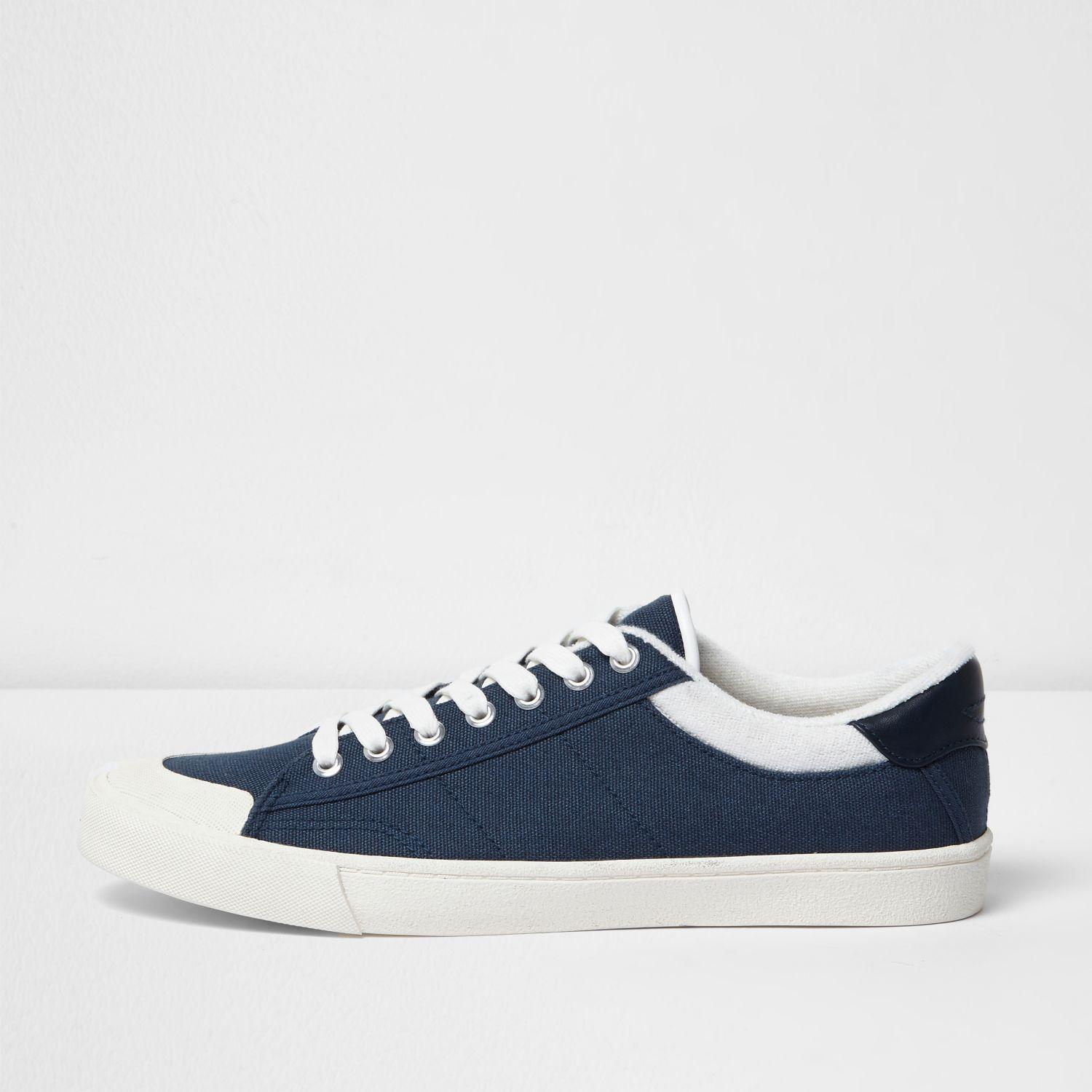 river island navy blue canvas plimsolls in blue for lyst