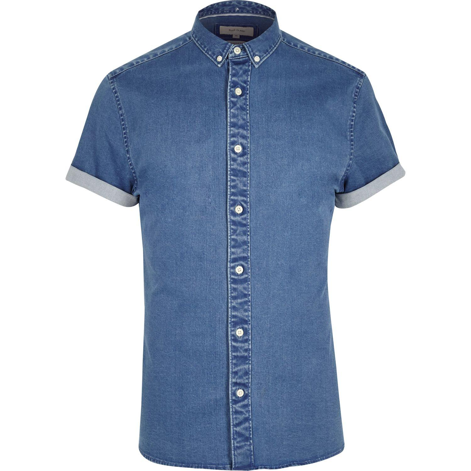 Lyst river island mid blue short sleeve muscle fit denim for Dress shirts for bodybuilders