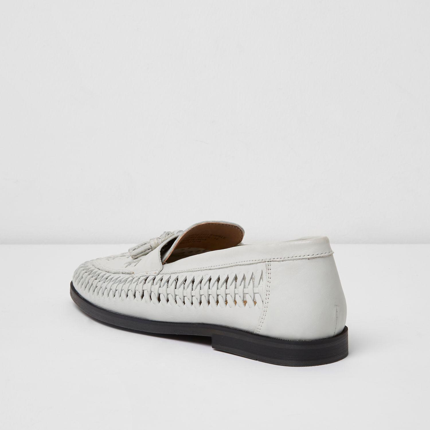 River Island White Leather Woven Tassel Loafers for Men