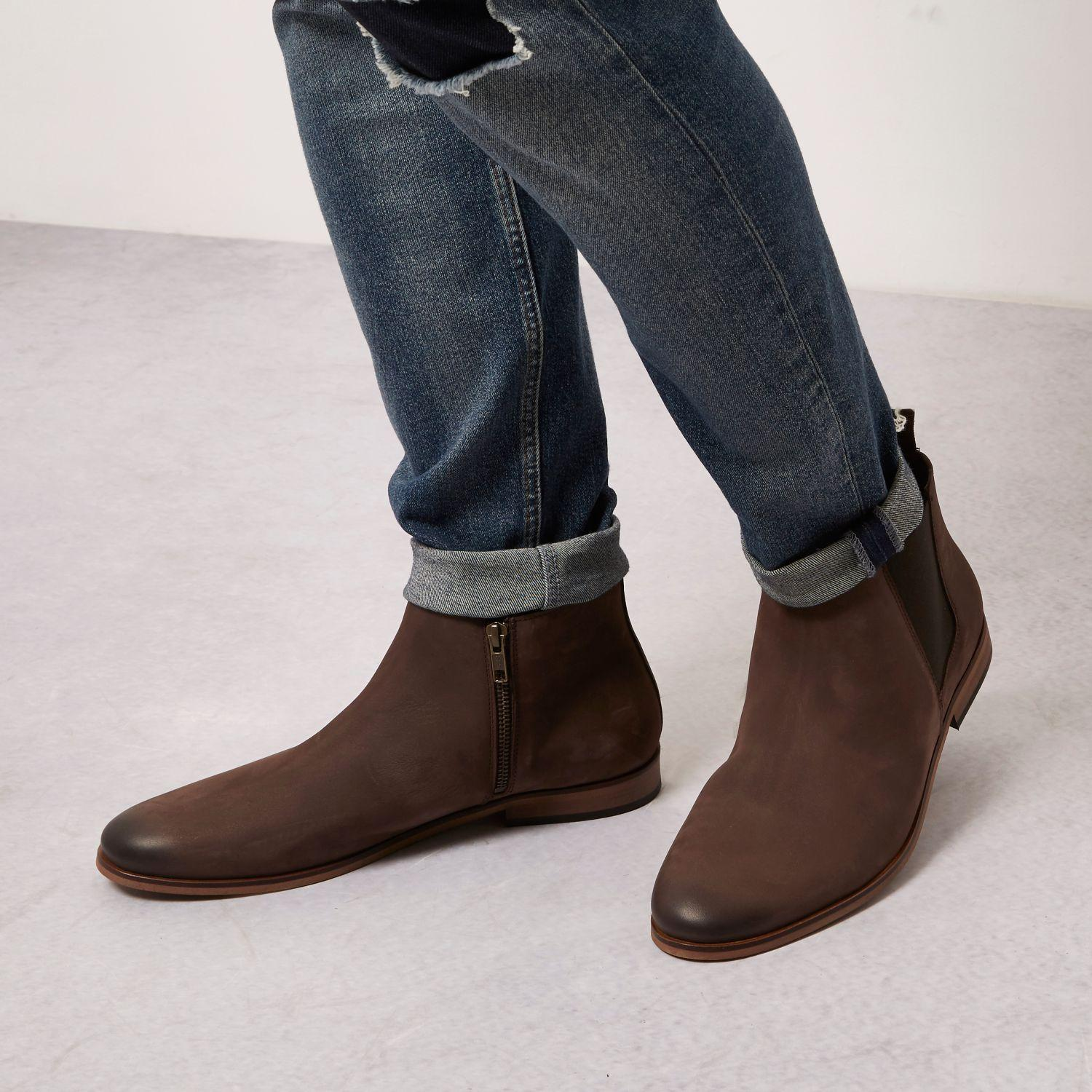 river island brown leather chelsea boots in brown for