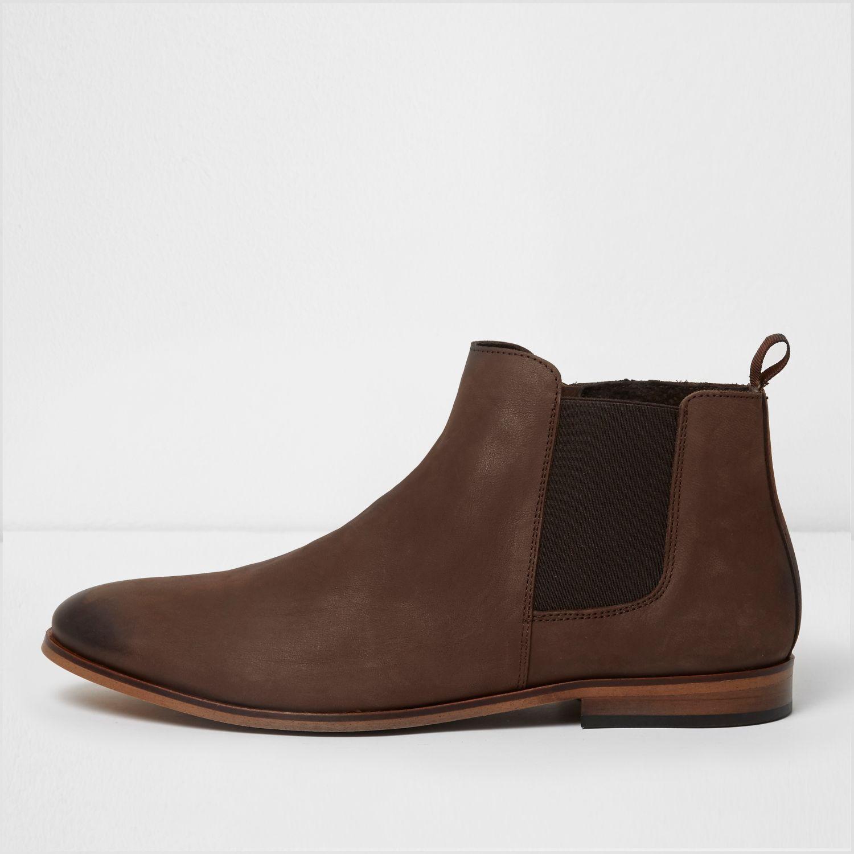 River Island Chelsea Boots In Dark Brown