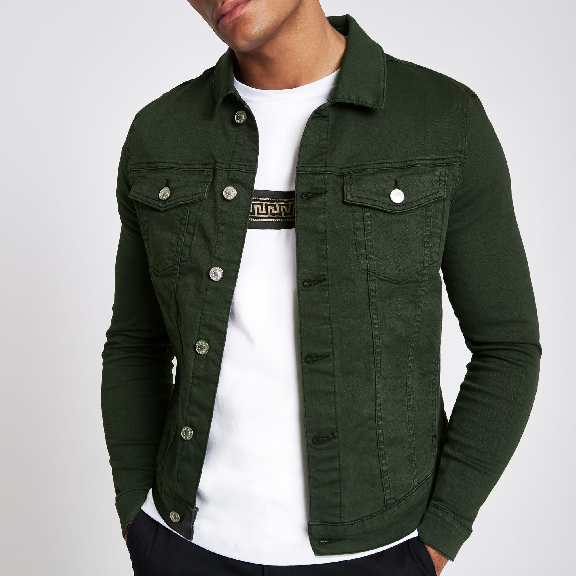 a314f0099 Men's Dark Green Muscle Fit Denim Jacket