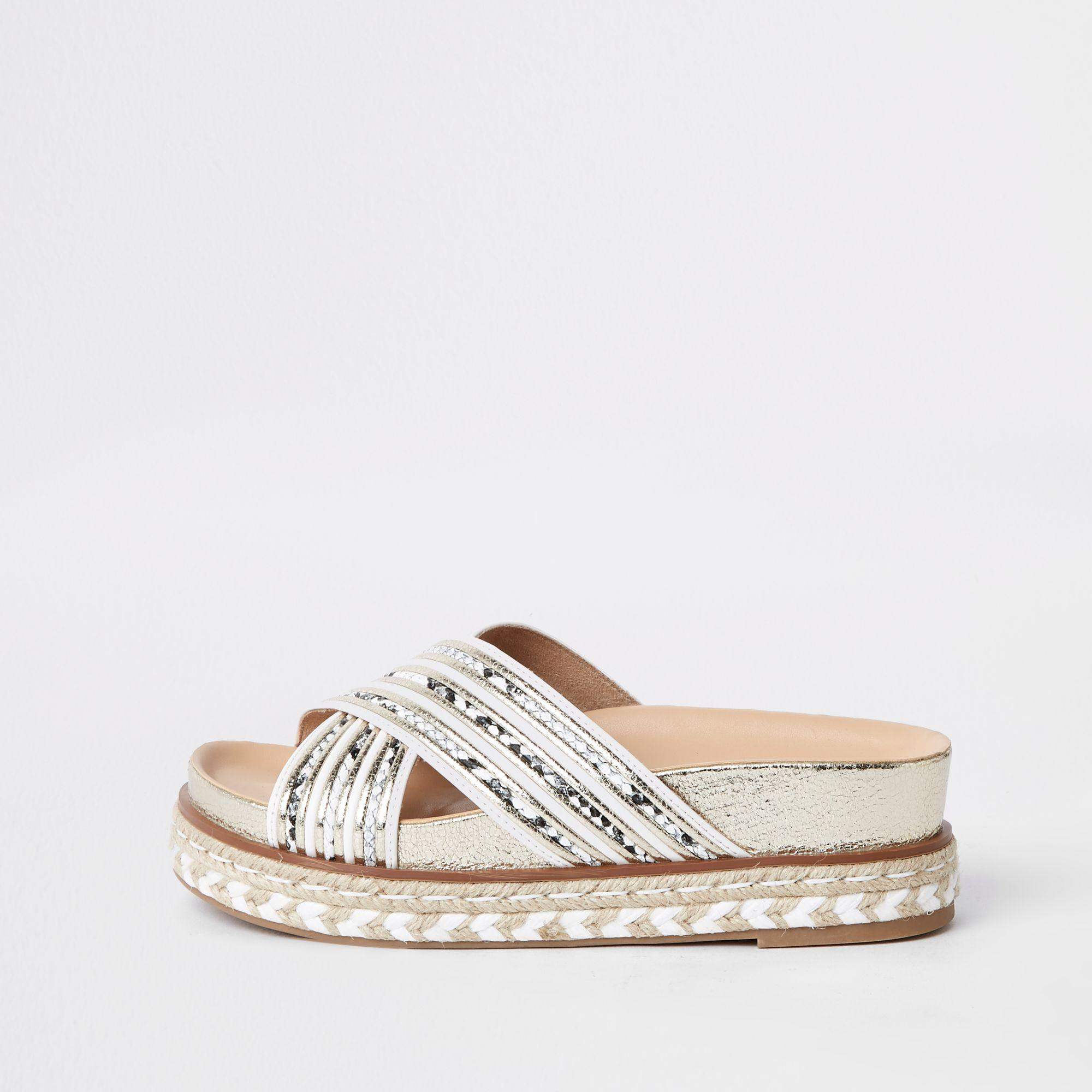 869f5ea6077 Lyst - River Island White Cross Strap Espadrille Platform Sandals in ...