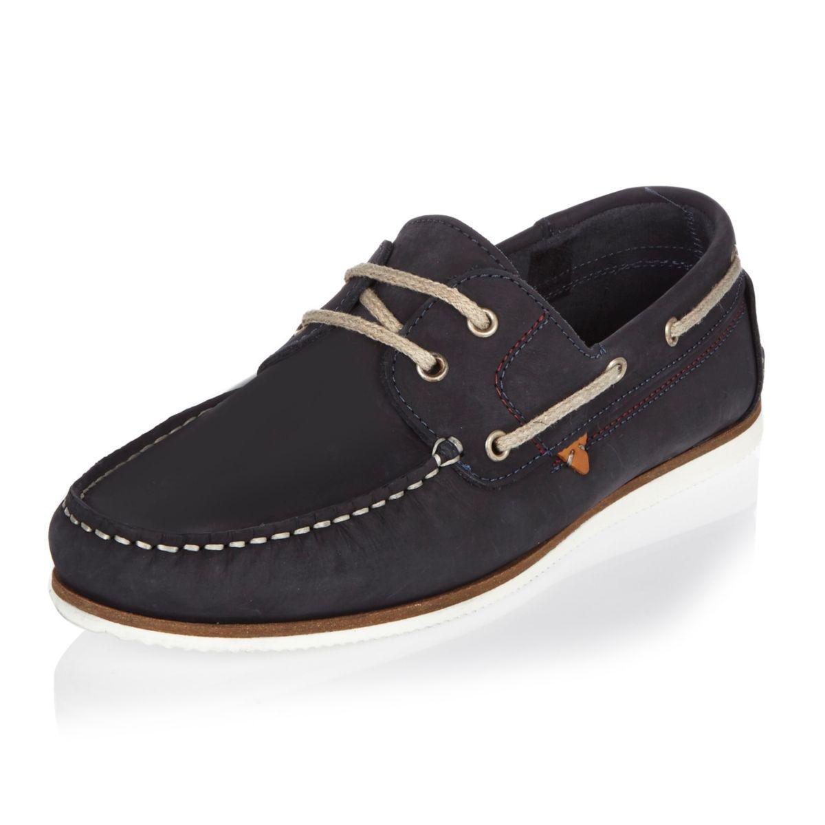 Men's Navy Blue Nubuck Boat Shoes
