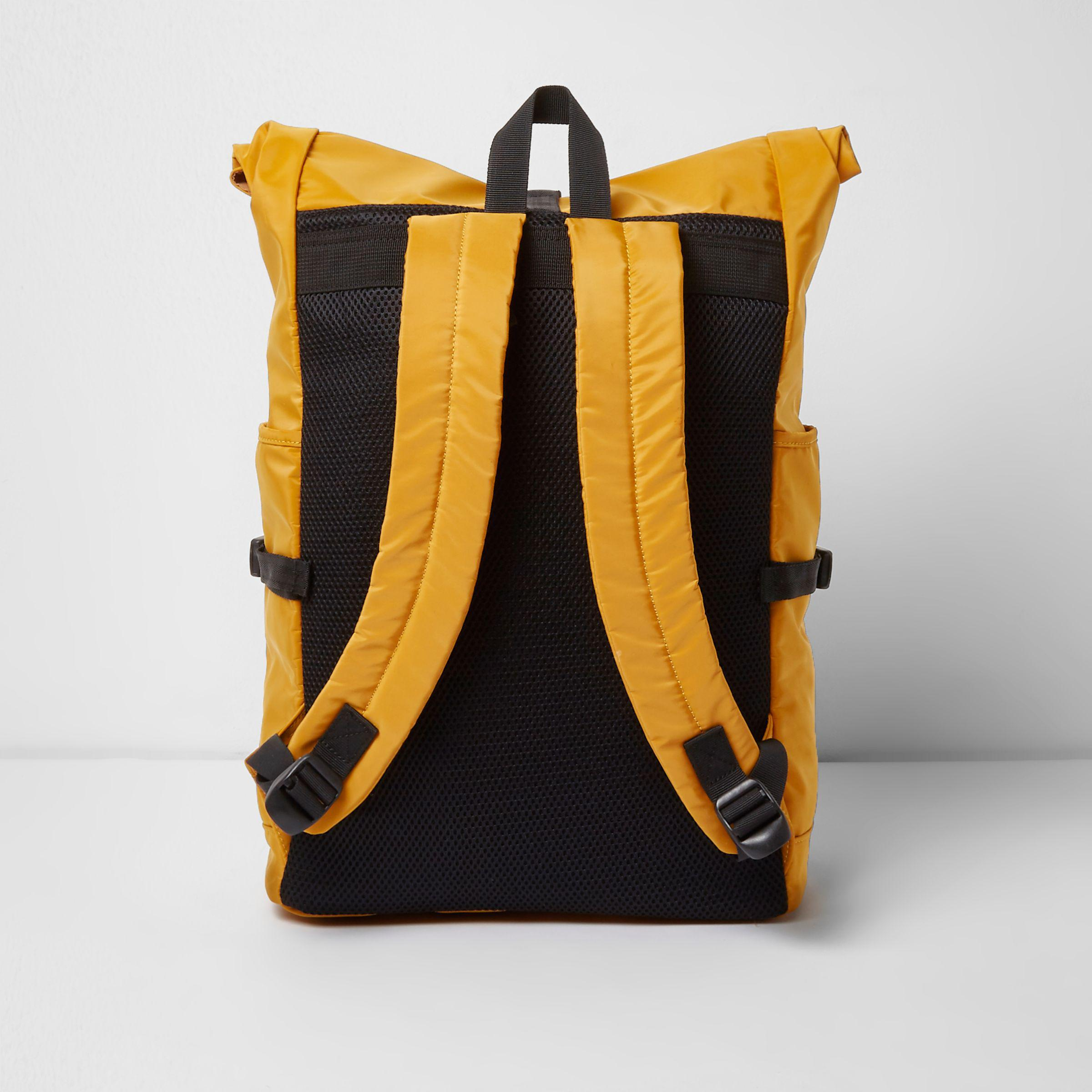 River Island Synthetic Yellow Roll Top Clip Backpack for Men
