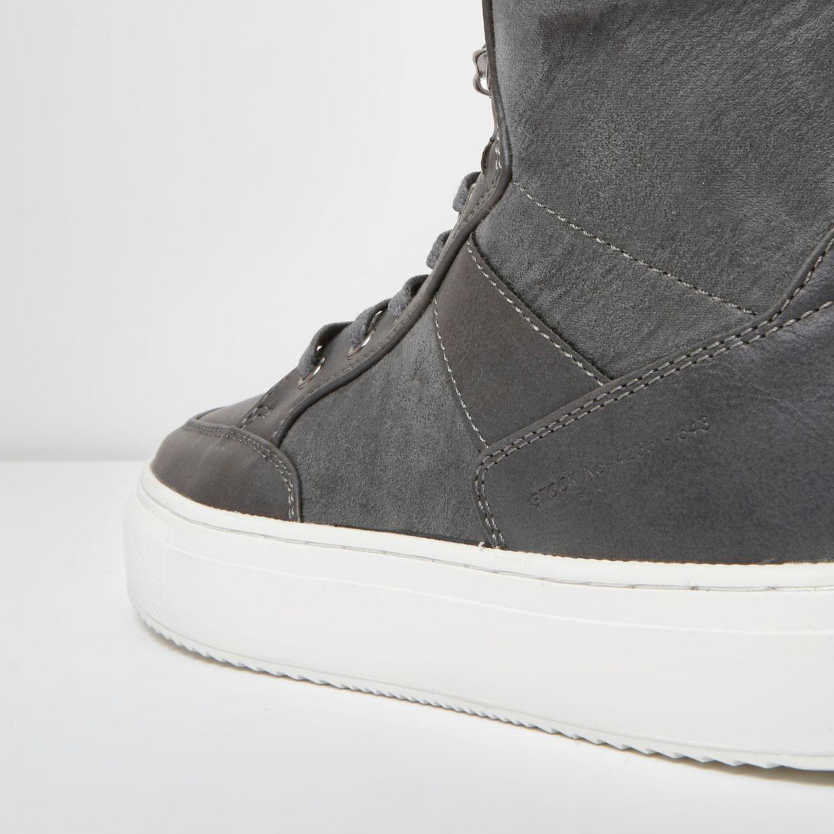 River Island Grey High Top Contrast Sole Lace-up Trainers in Grey for Men