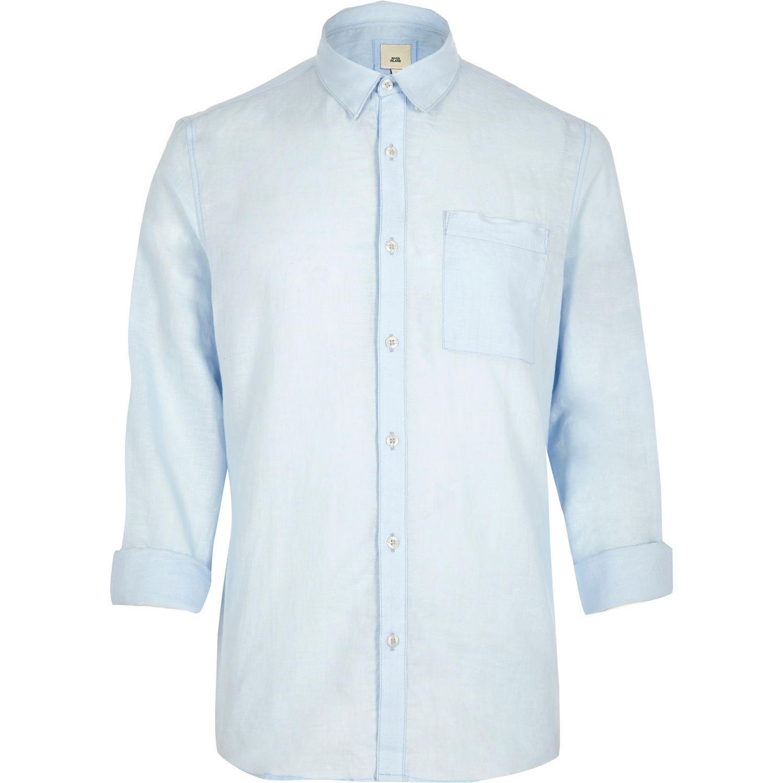 River island light blue linen blend long sleeve shirt in for Mens light blue linen shirt