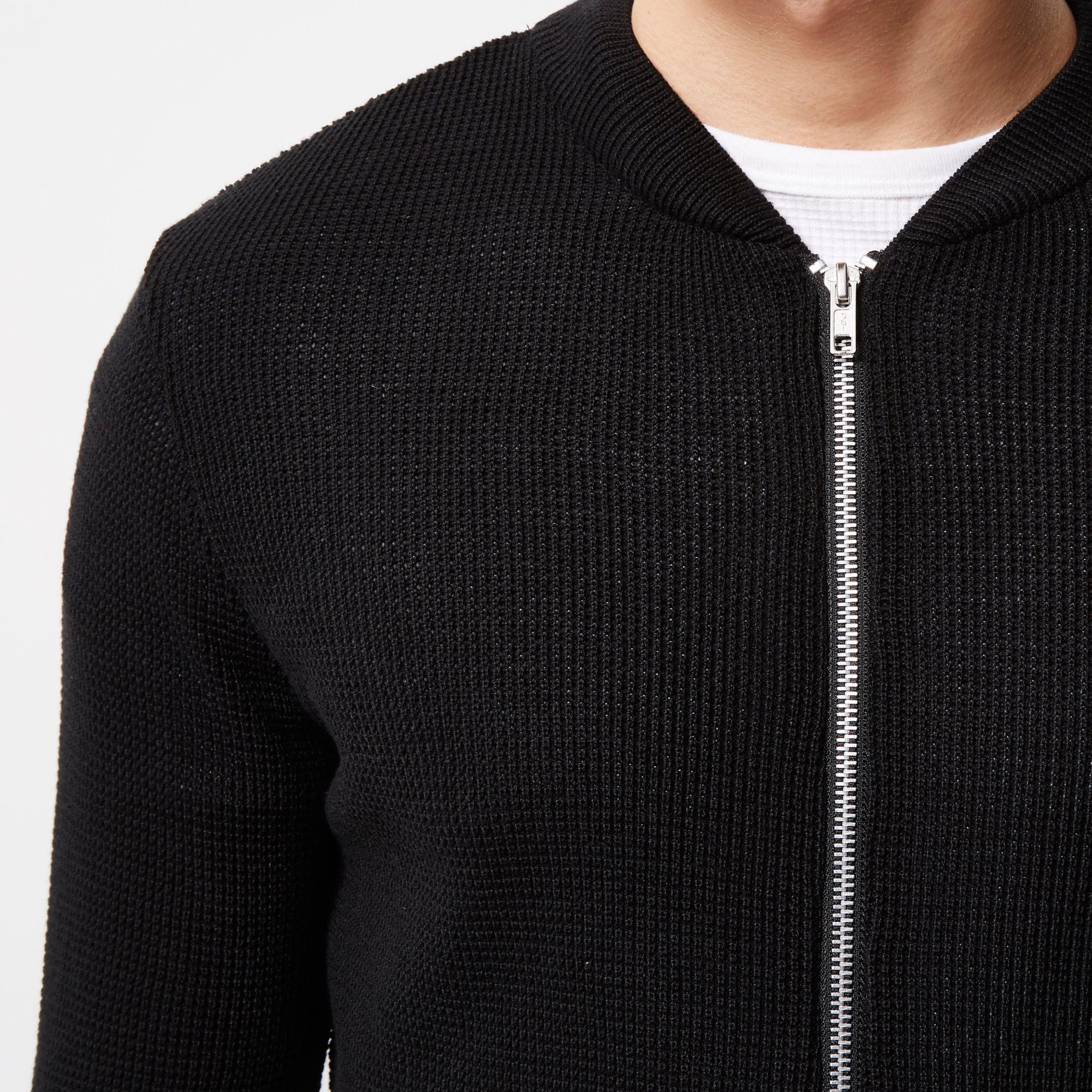 River Island Cotton Black Textured Knit Bomber Jacket for Men