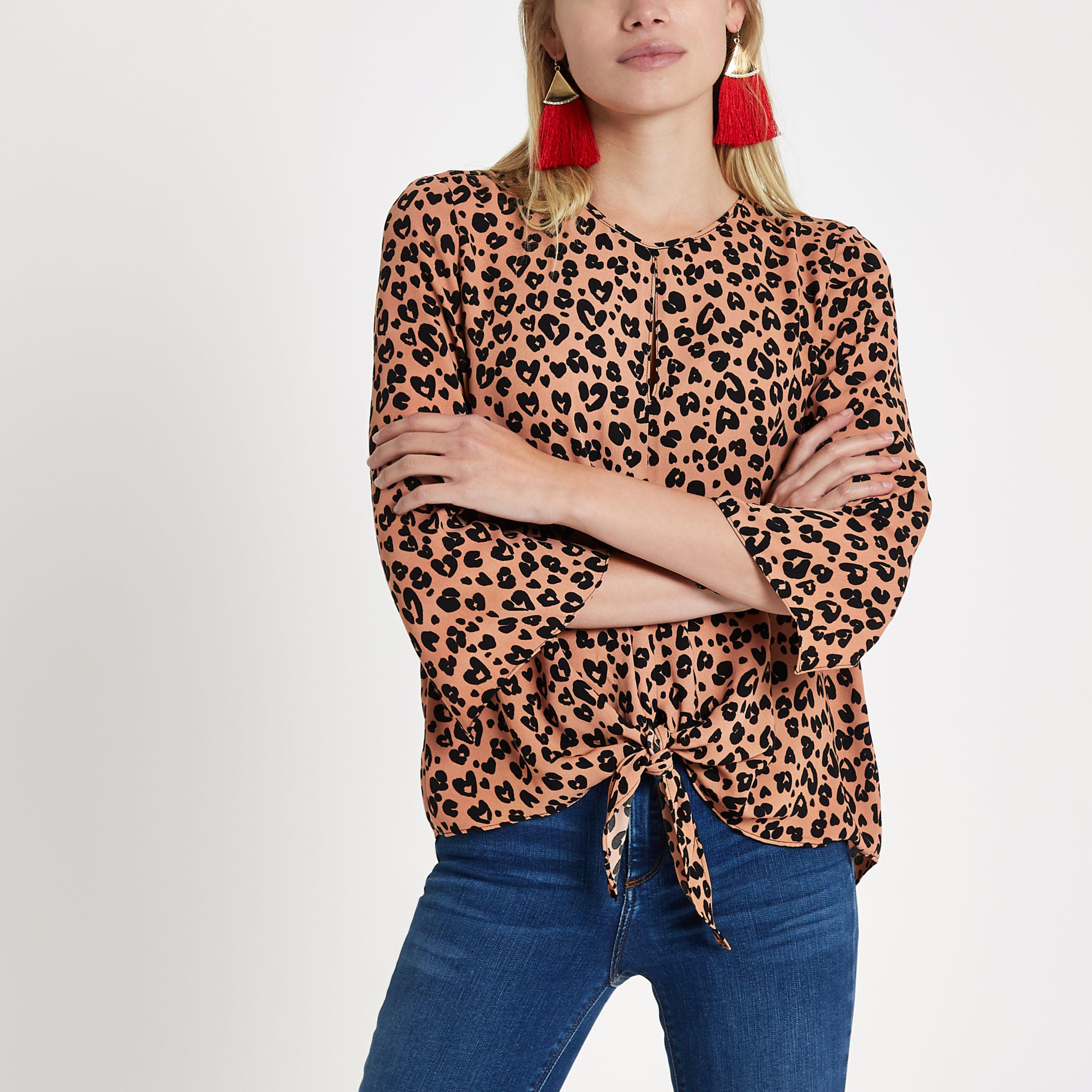 781e9d60af898 River Island Brown Leopard Print Tie Front Top in Brown - Lyst