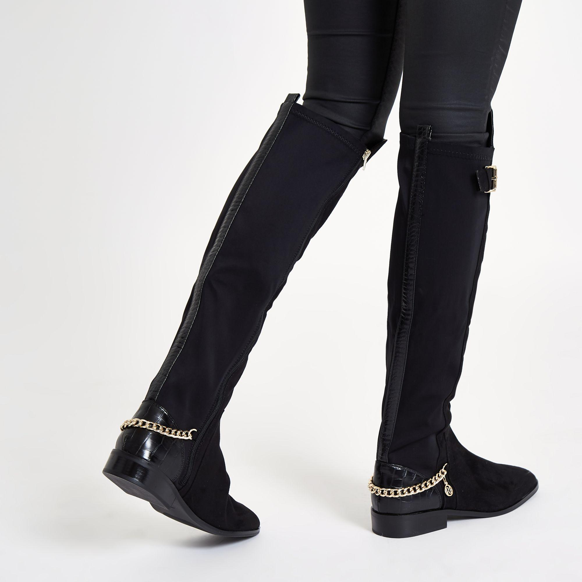 River Island Black Over The Knee Chain Boots