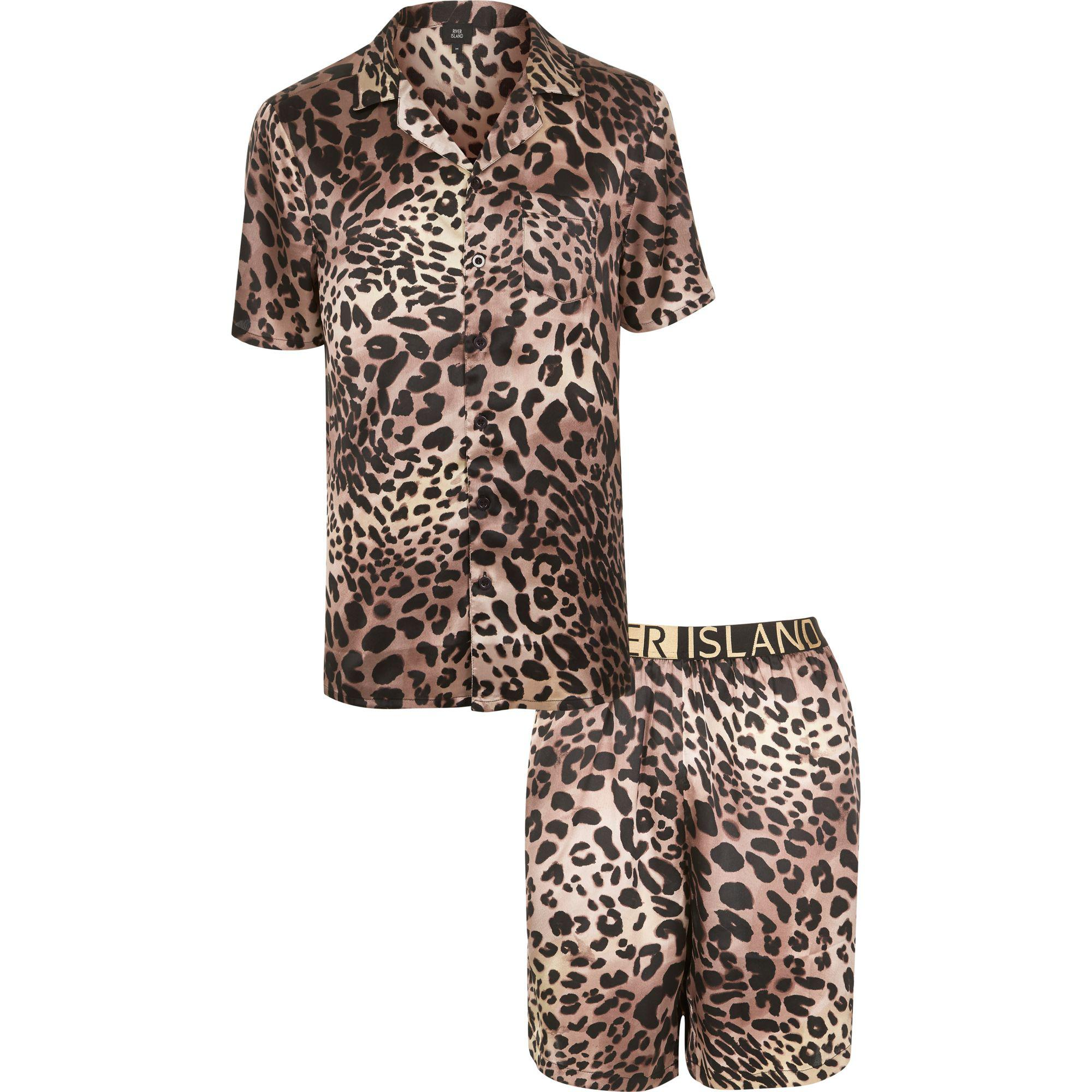 strong packing purchase cheap volume large River Island Sateen Leopard Print Pyjama Set in Brown for ...