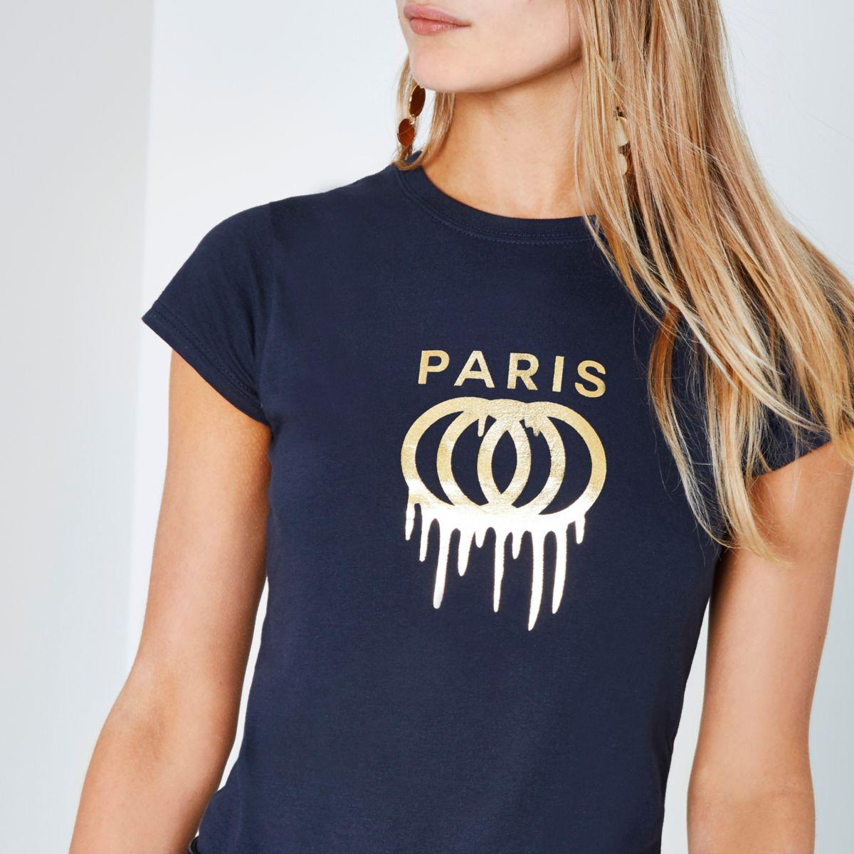 Lyst river island navy 39 paris 39 foil print fitted t shirt for Fitted t shirt printing