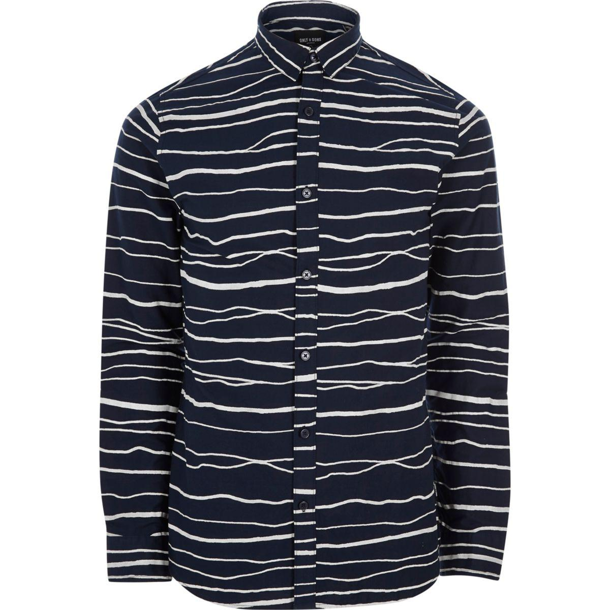 Lyst river island navy only sons stripe long sleeve for Navy blue striped long sleeve shirt