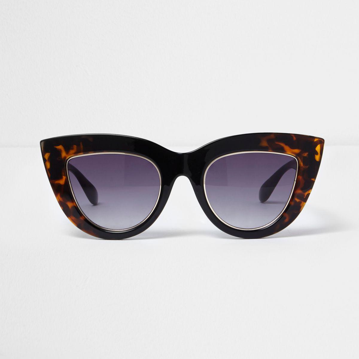 970ed10cabad Lyst - River Island Black Tortoiseshell Smoke Cat Eye Sunglasses in ...