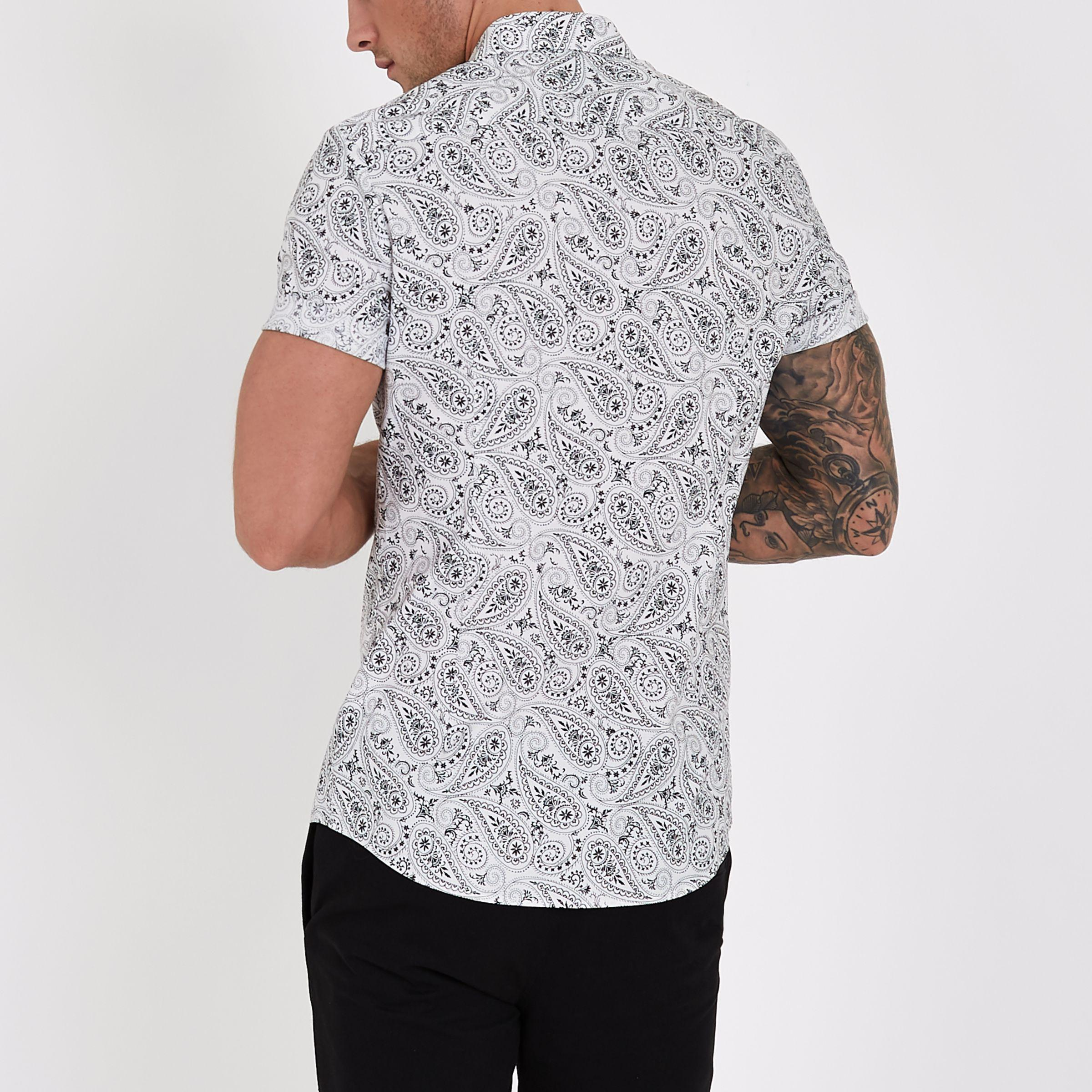 a96d13f8 Lyst - River Island White Muscle Fit Short Sleeve Paisley Shirt in ...