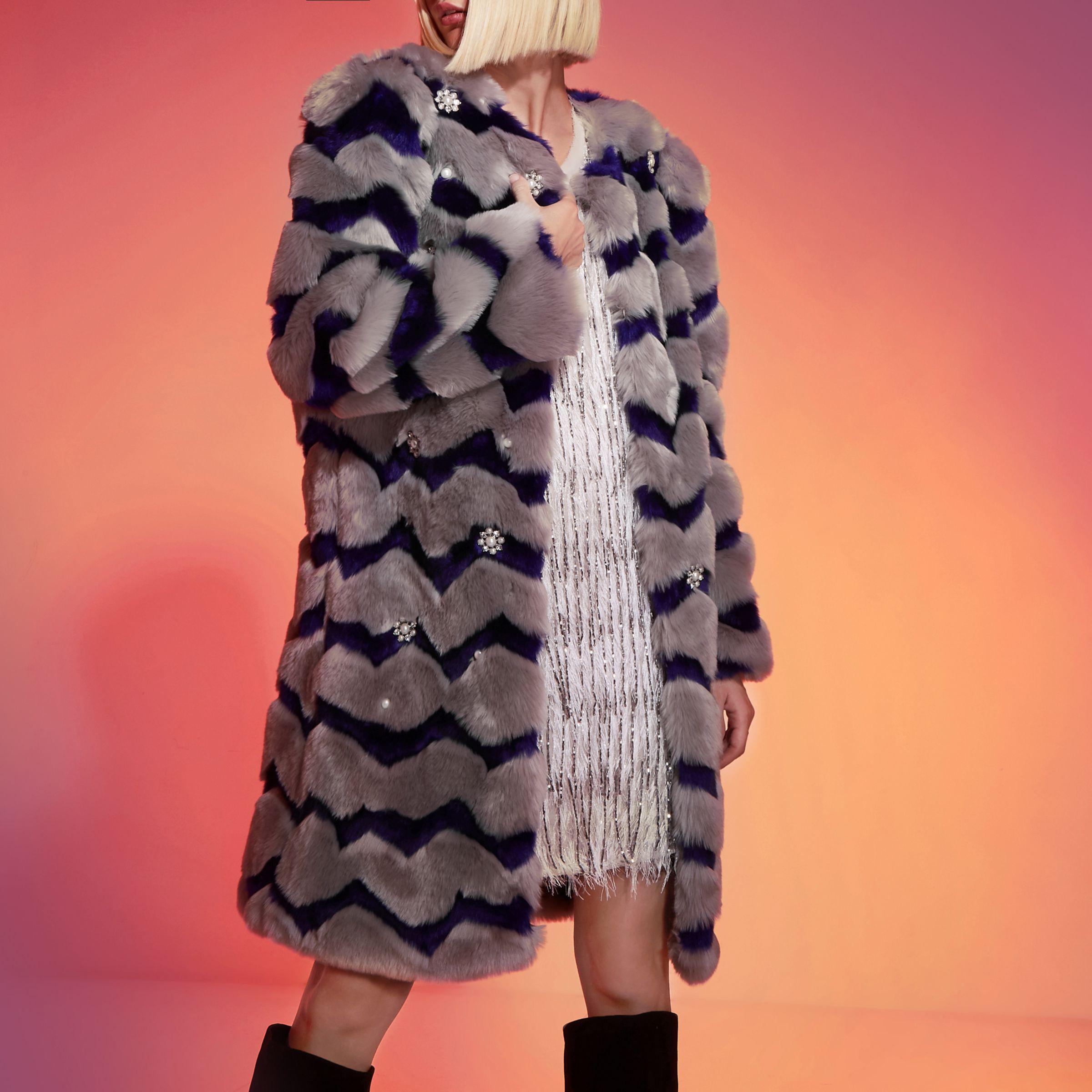 f8c5a2fde River Island Grey Ri Studio Faux Fur Stripe Coat in Gray - Lyst