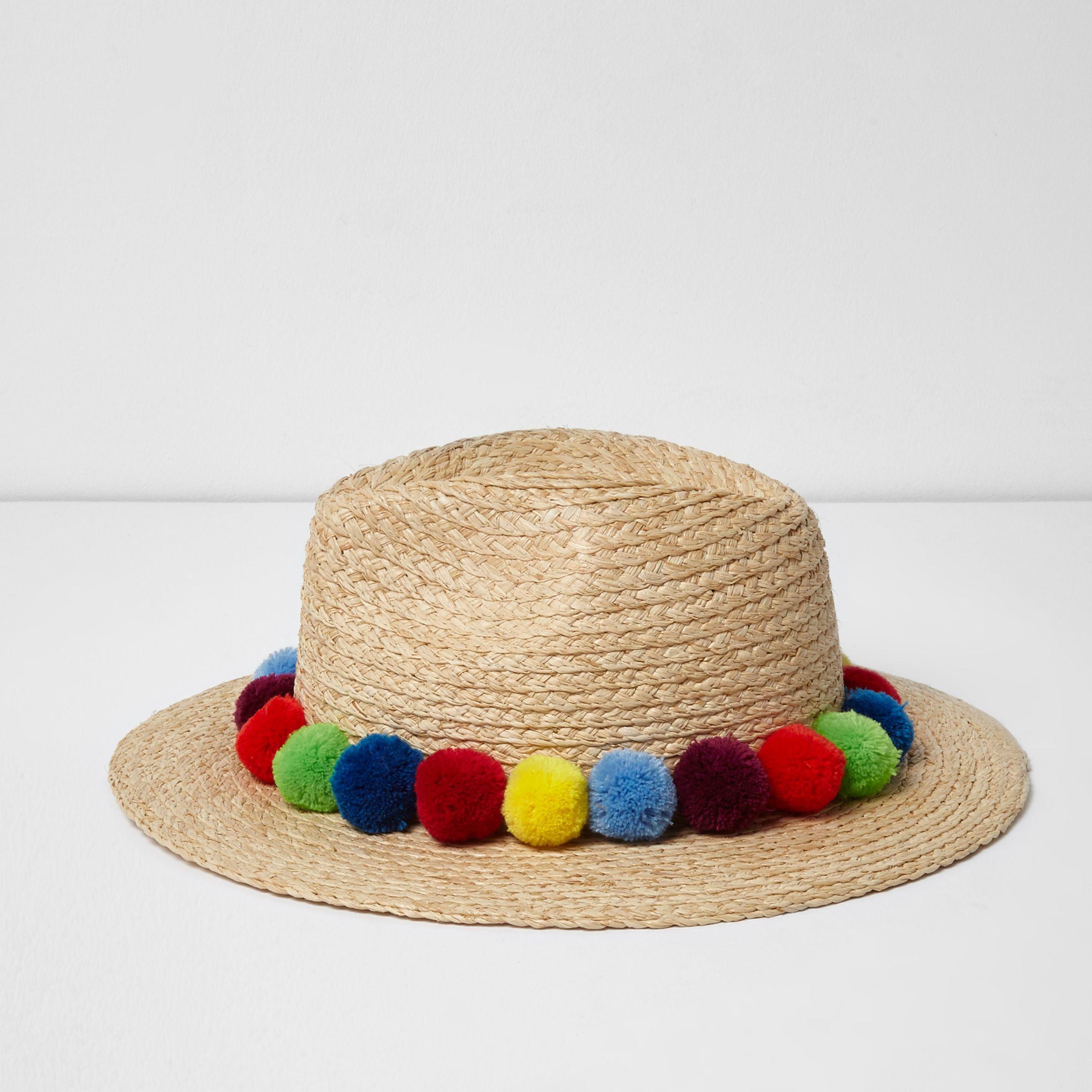 c2cf1aa572e Lyst - River Island Beige Pom Pom Trim Straw Fedora Hat in Natural