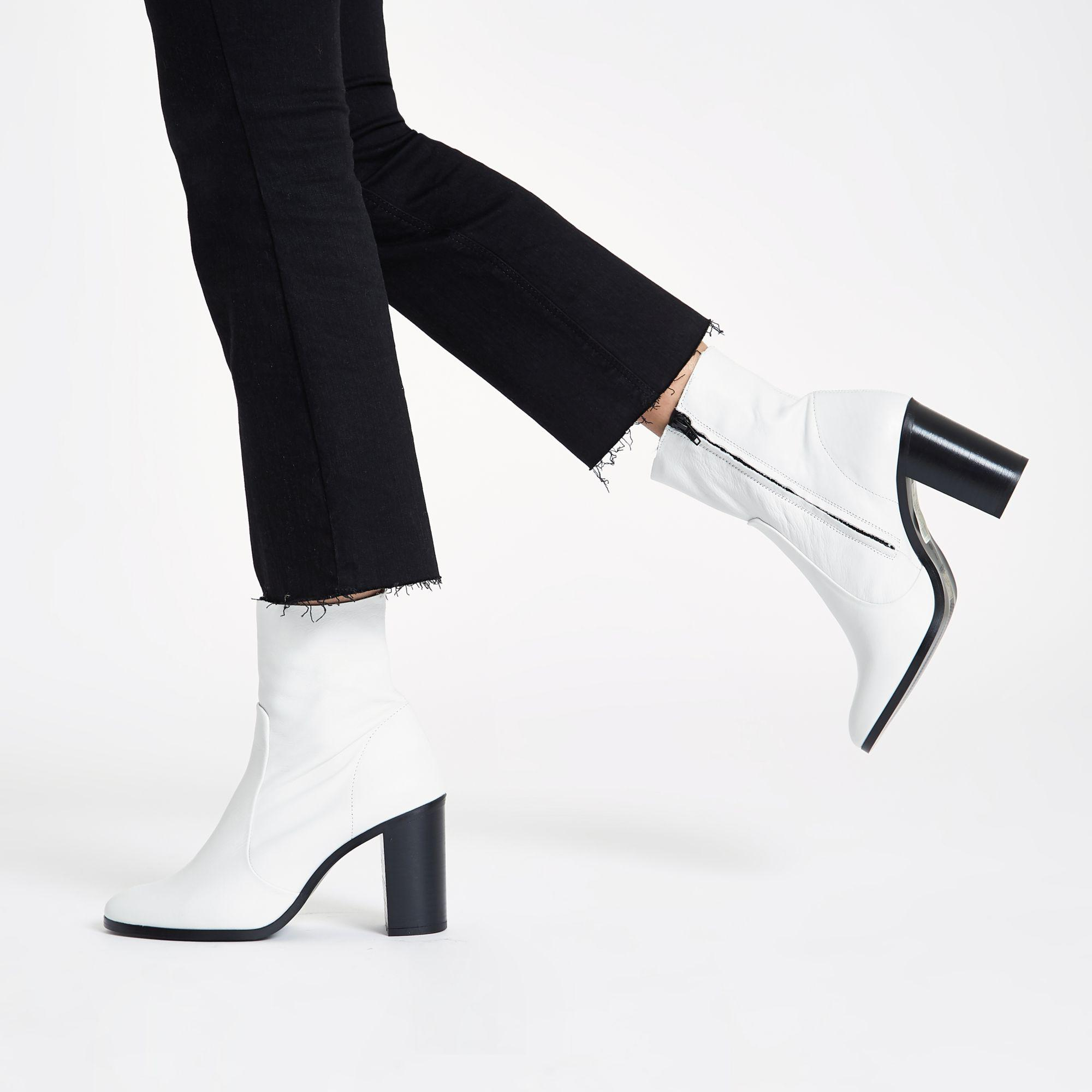 Leather Sock Block Heel Ankle Boots