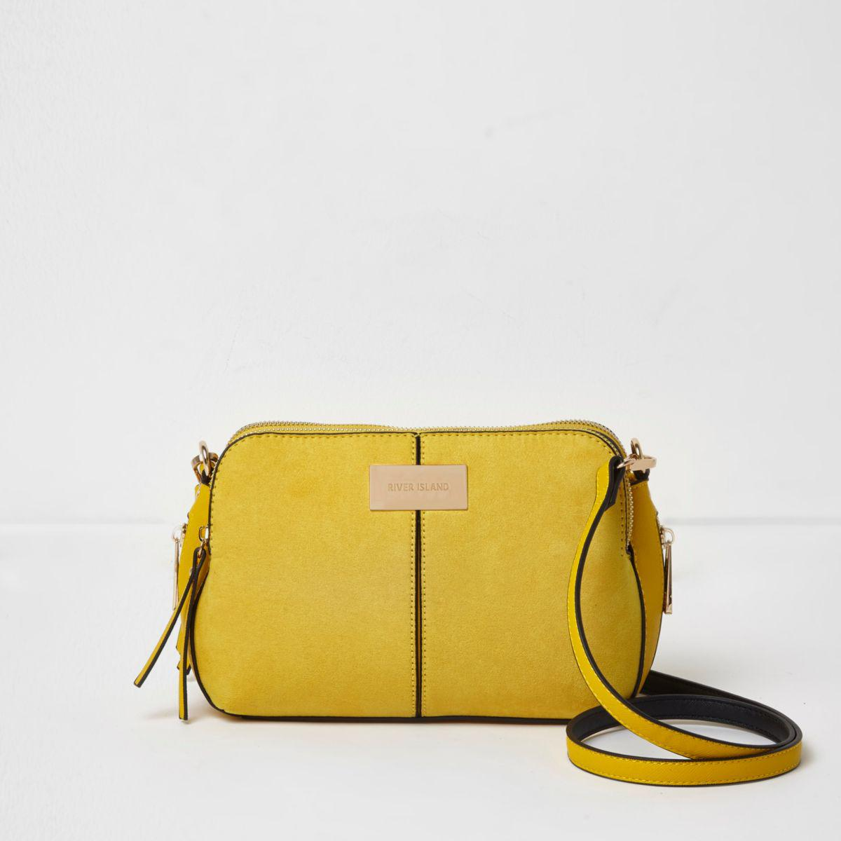 56ab7a117d706 River Island Yellow Triple Compartment Cross Body Bag Yellow Triple ...