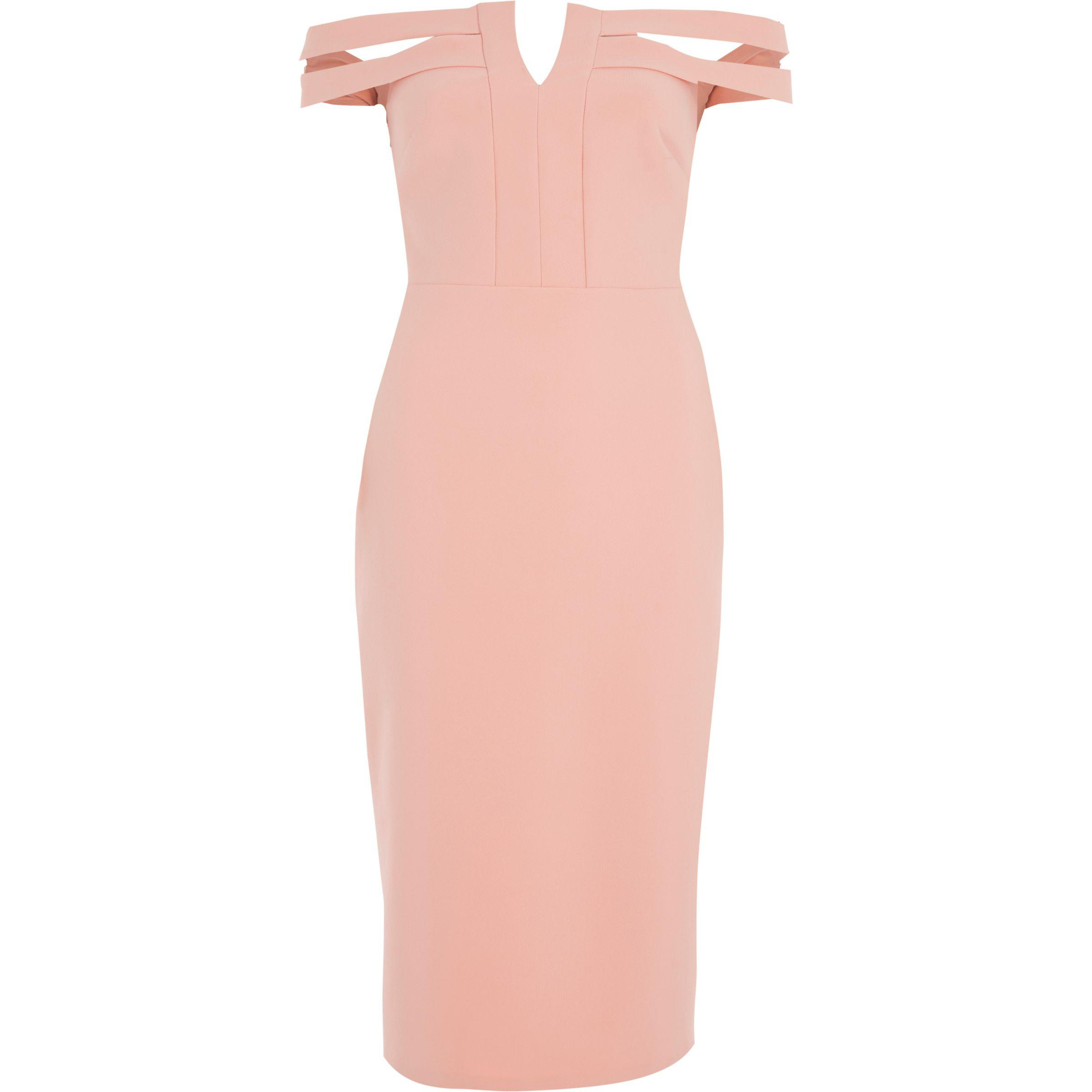 Hop silver island river dress bright pink midi bodycon online
