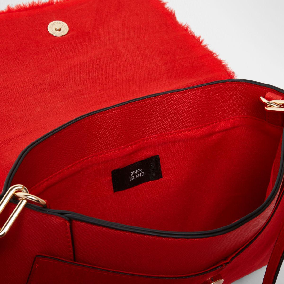 Lyst - River Island Red Faux Fur Flap Envelope Clutch Bag Red Faux ... 17b65d3c6f1a2
