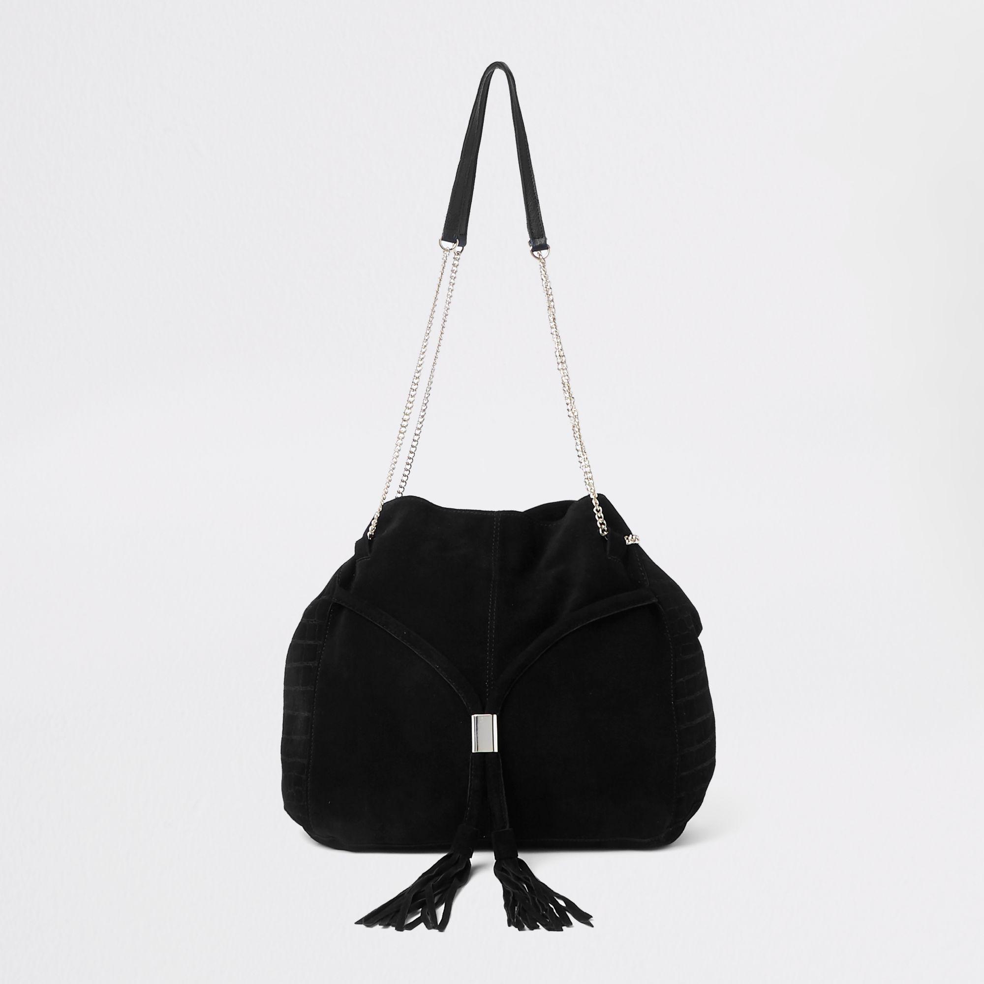 800da95177 River Island Leather Gold Tone Chain Handle Tote Bag in Black - Lyst