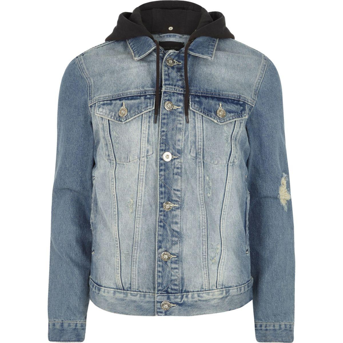 River Island Light Blue Distressed Denim Jacket for Men