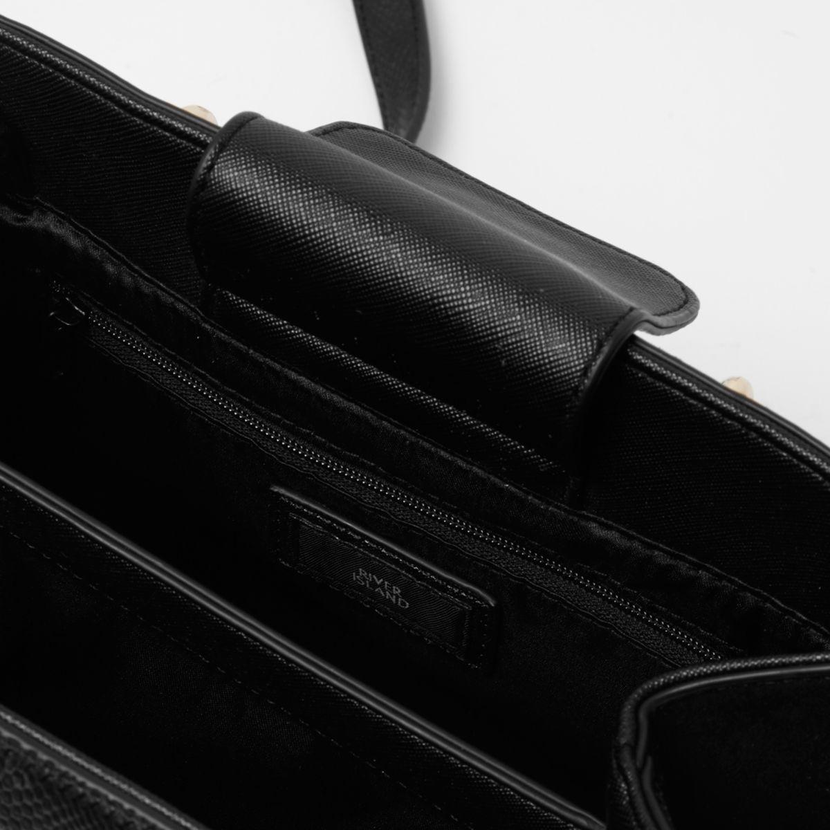 River Island Black Studded Metal Handle Tote Bag Black Studded Metal Handle Tote Bag