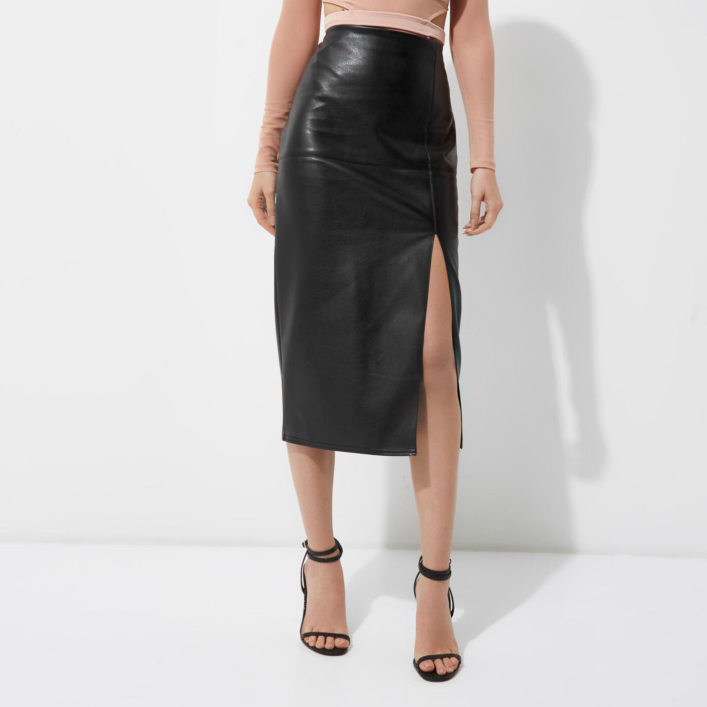 new list where can i buy outlet on sale River Island Black Faux Leather Side Split Pencil Skirt - Lyst