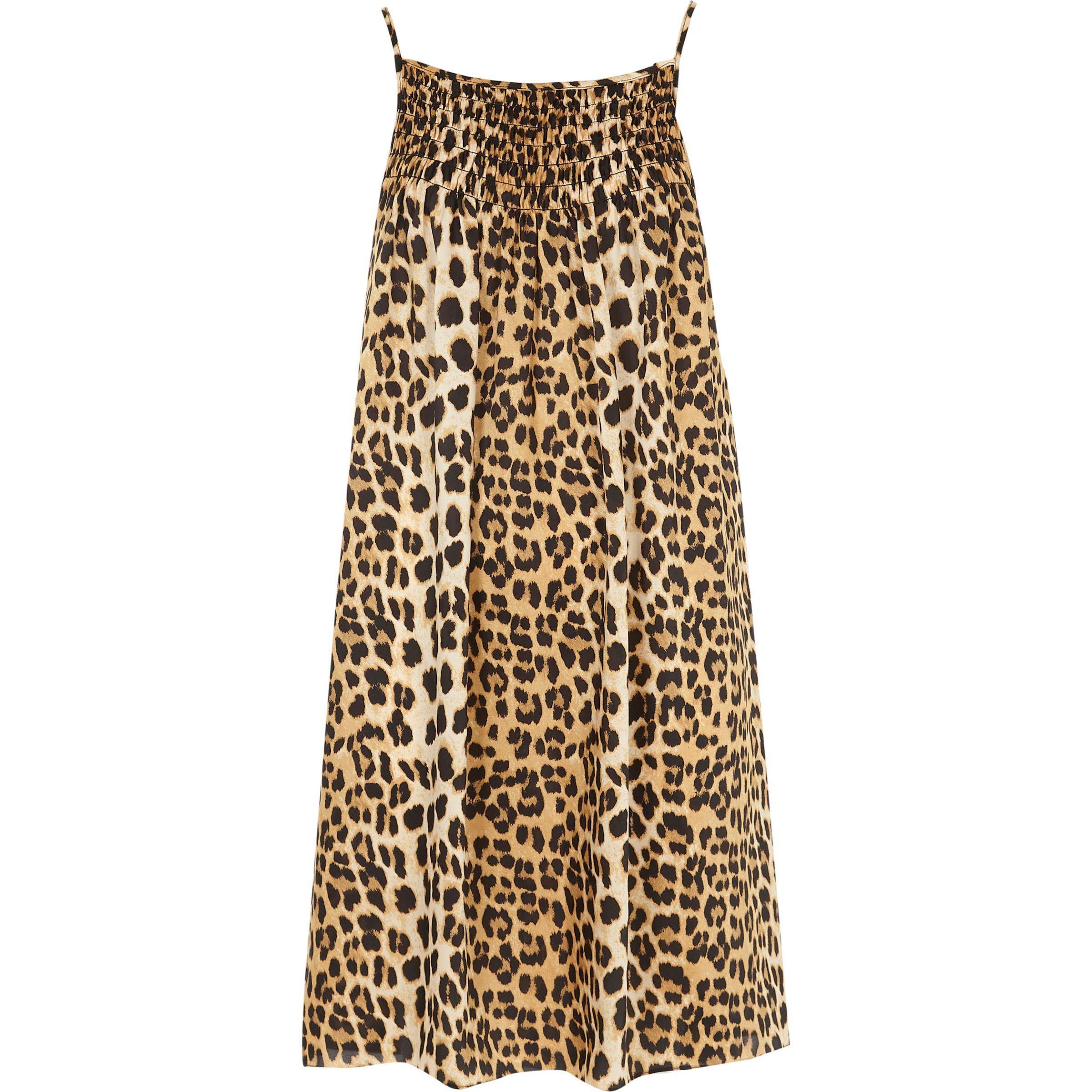 2e044c5a7c Lyst - River Island Leopard Print Slip Mini Dress in Brown