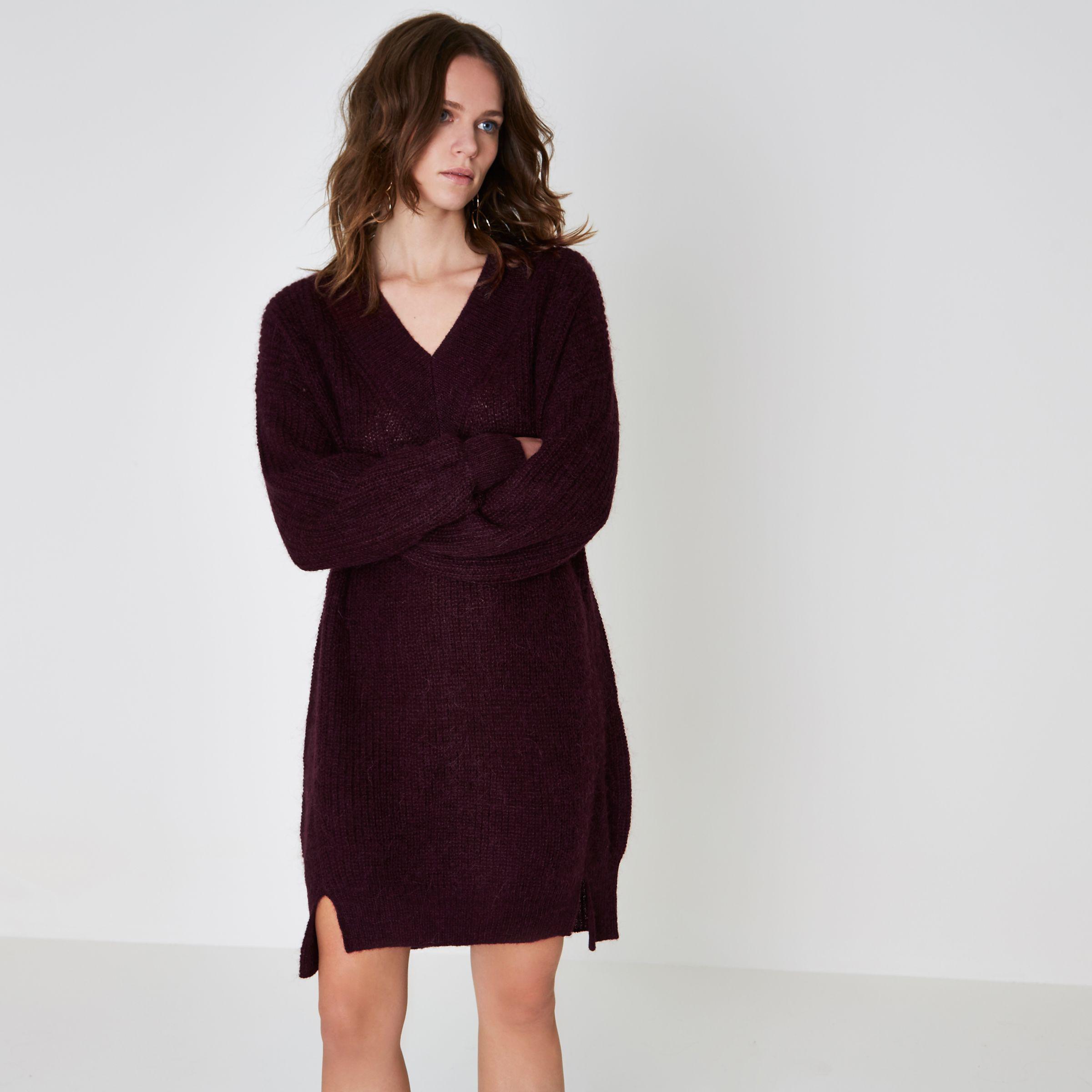 b5d0db6bacf0 Lyst - River Island Burgundy V Neck Knit Jumper Dress in Purple