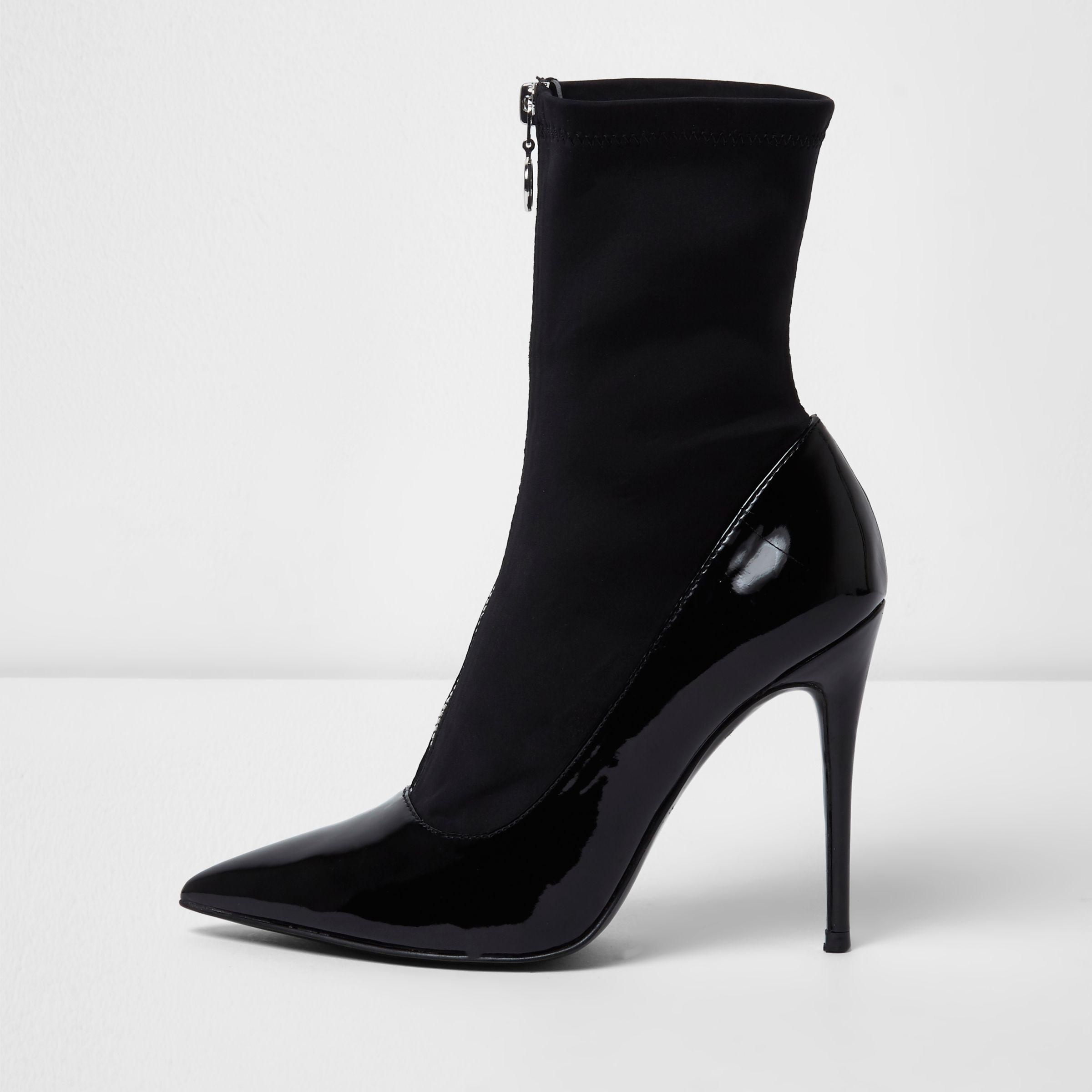 c58ee3bd627f River Island Black Patent Zip Front Sock Boots in Black - Lyst