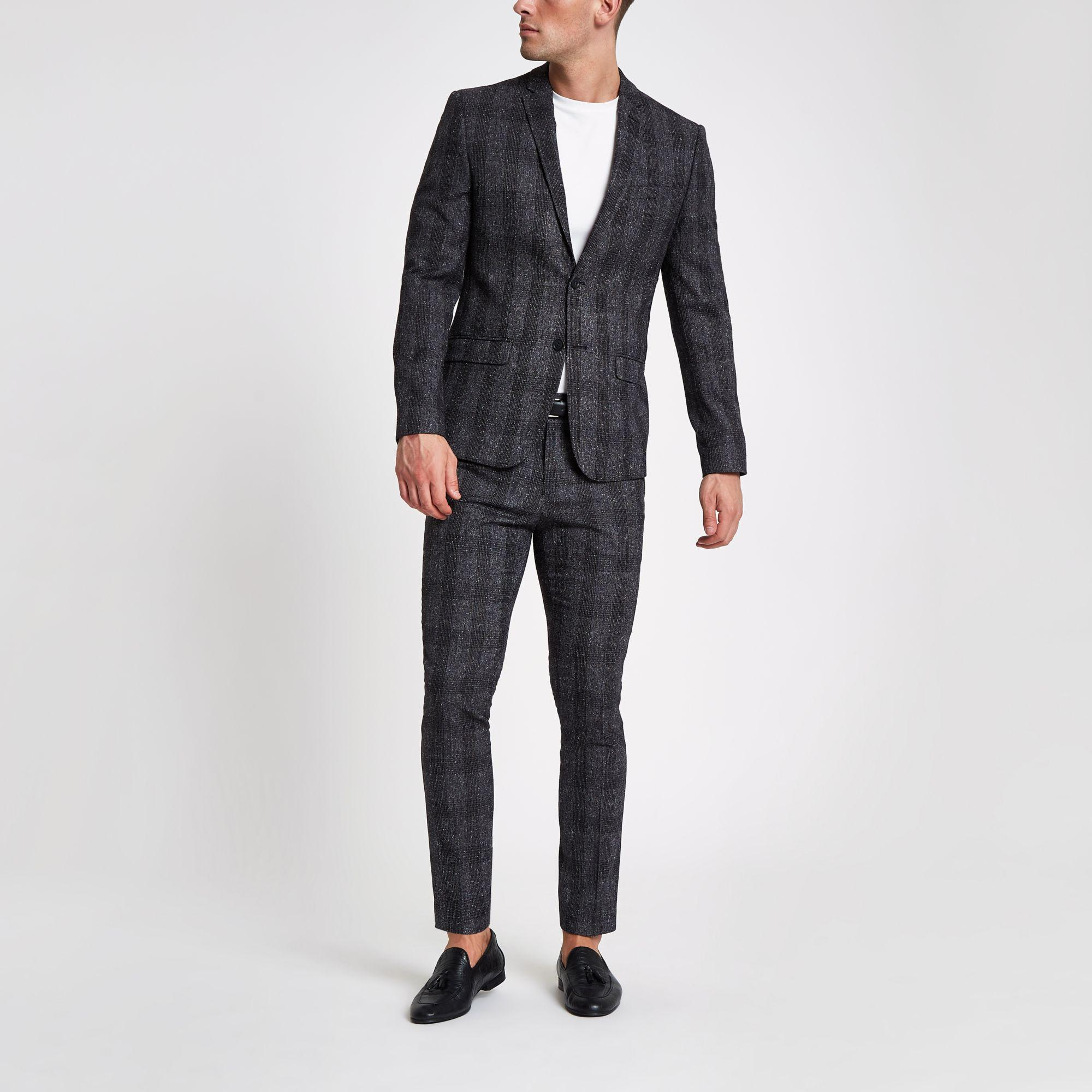 River Island Synthetic Check Skinny Suit Jacket in Grey (Grey) for Men