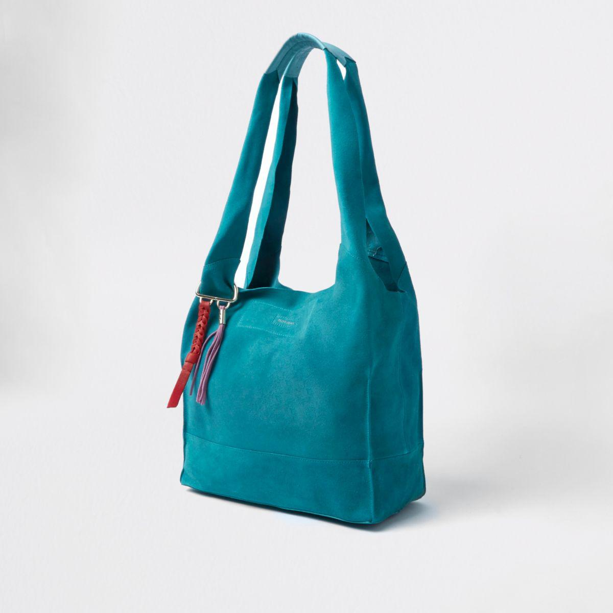 River Island Teal Blue Suede Slouch Tote Bag Teal Blue Suede Slouch Tote Bag in Green