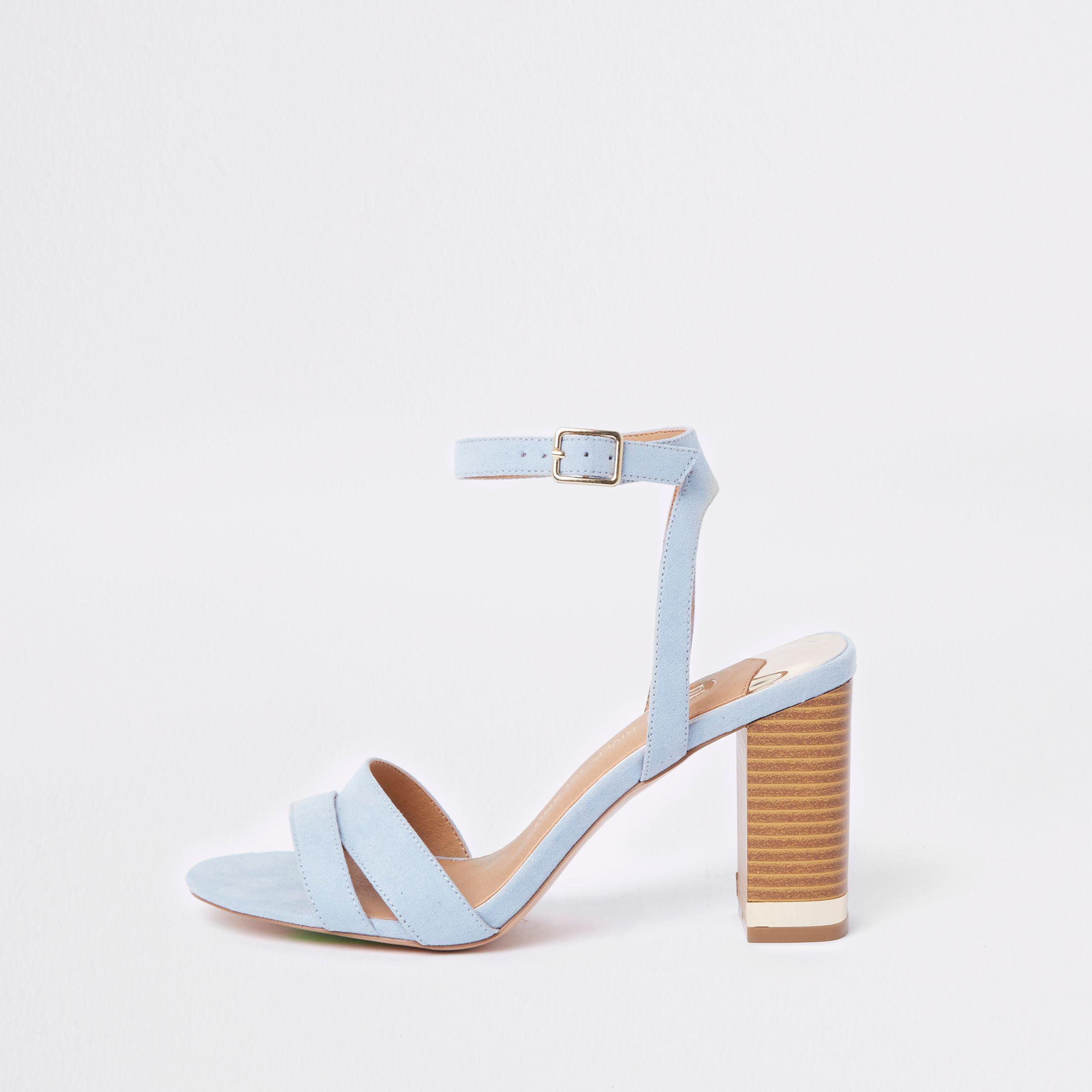 Suede Light Blue Block Heel Sandals