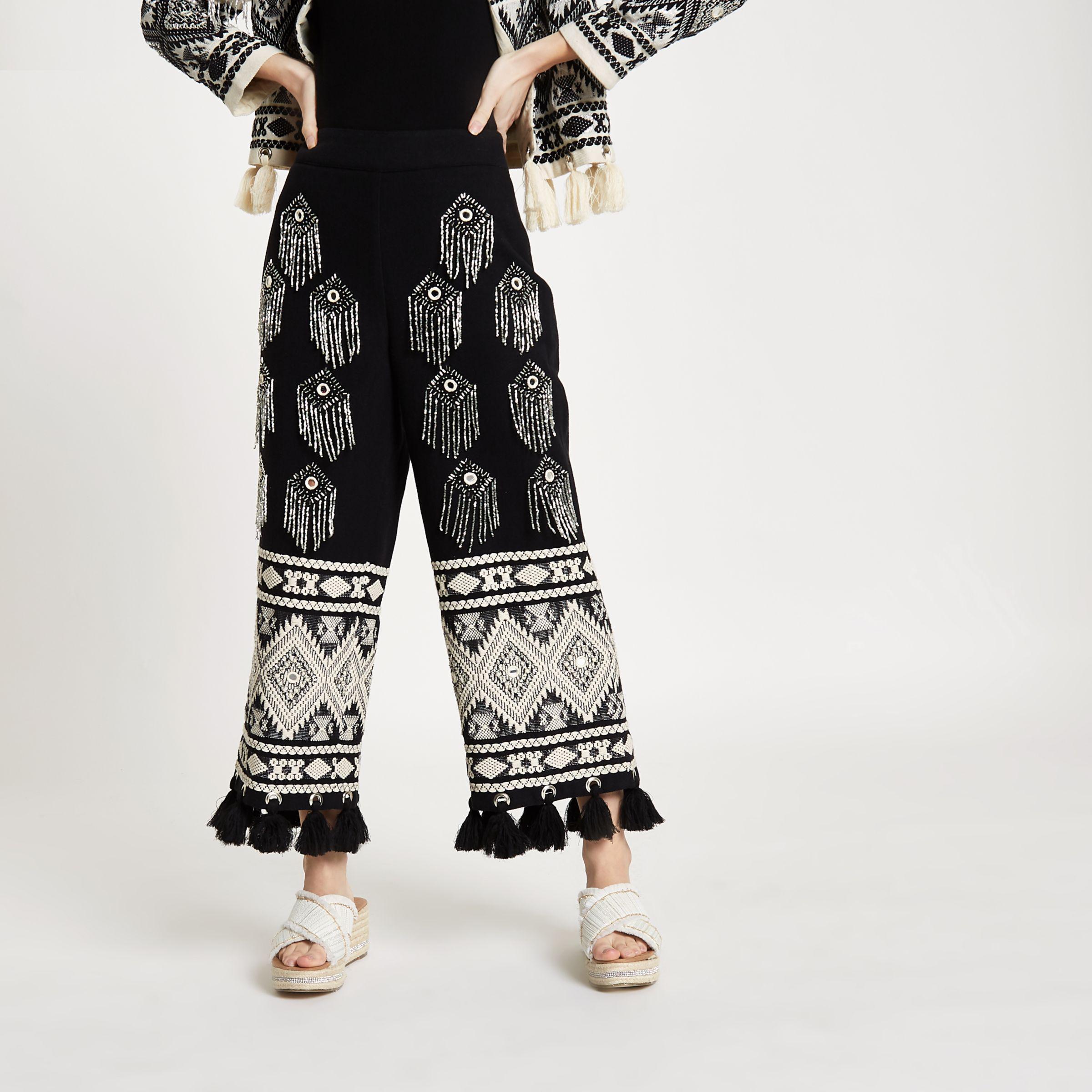 Free Shipping Big Sale Womens Black embellished tassel hem culottes River Island Super p5rvIbH