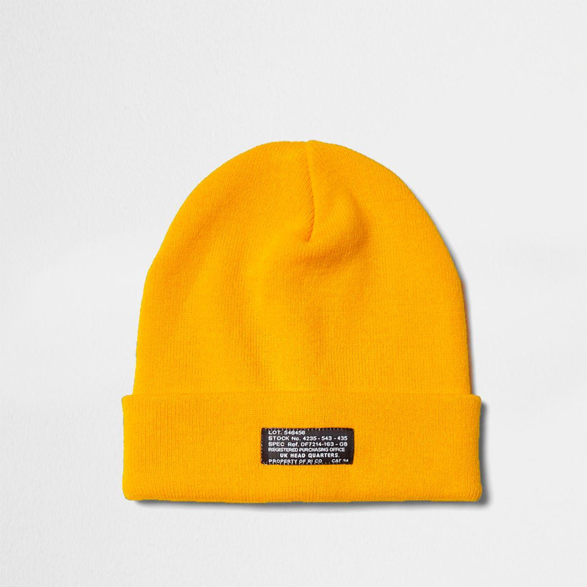 River Island Cotton Yellow Knit Beanie Hat Yellow Knit