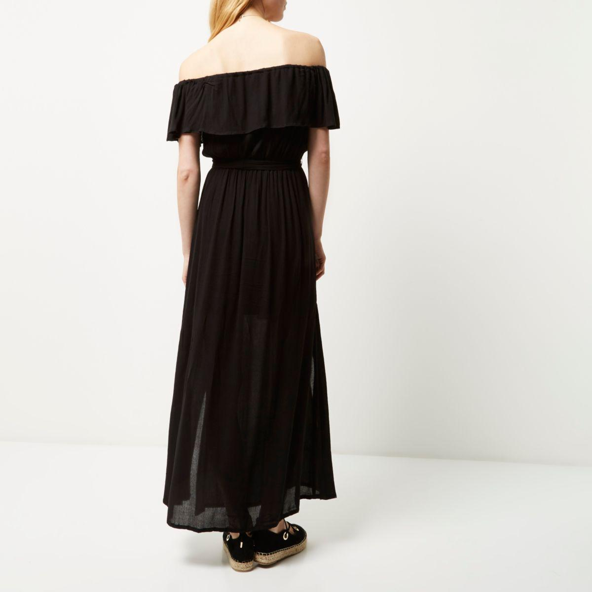 classic shoes the cheapest factory outlet River Island Synthetic Black Bardot Maxi Dress - Lyst