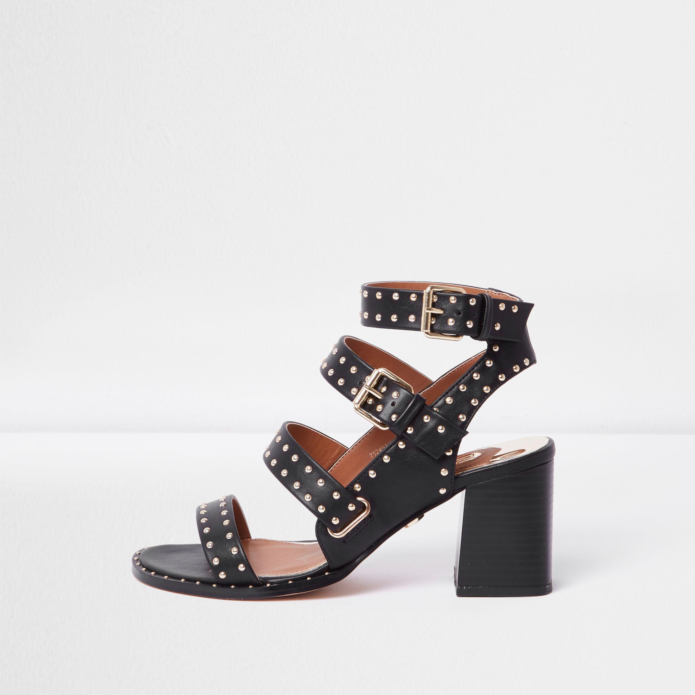 787e9390a0b2 River Island Black Studded Strappy Block Heel Sandals in Black - Lyst