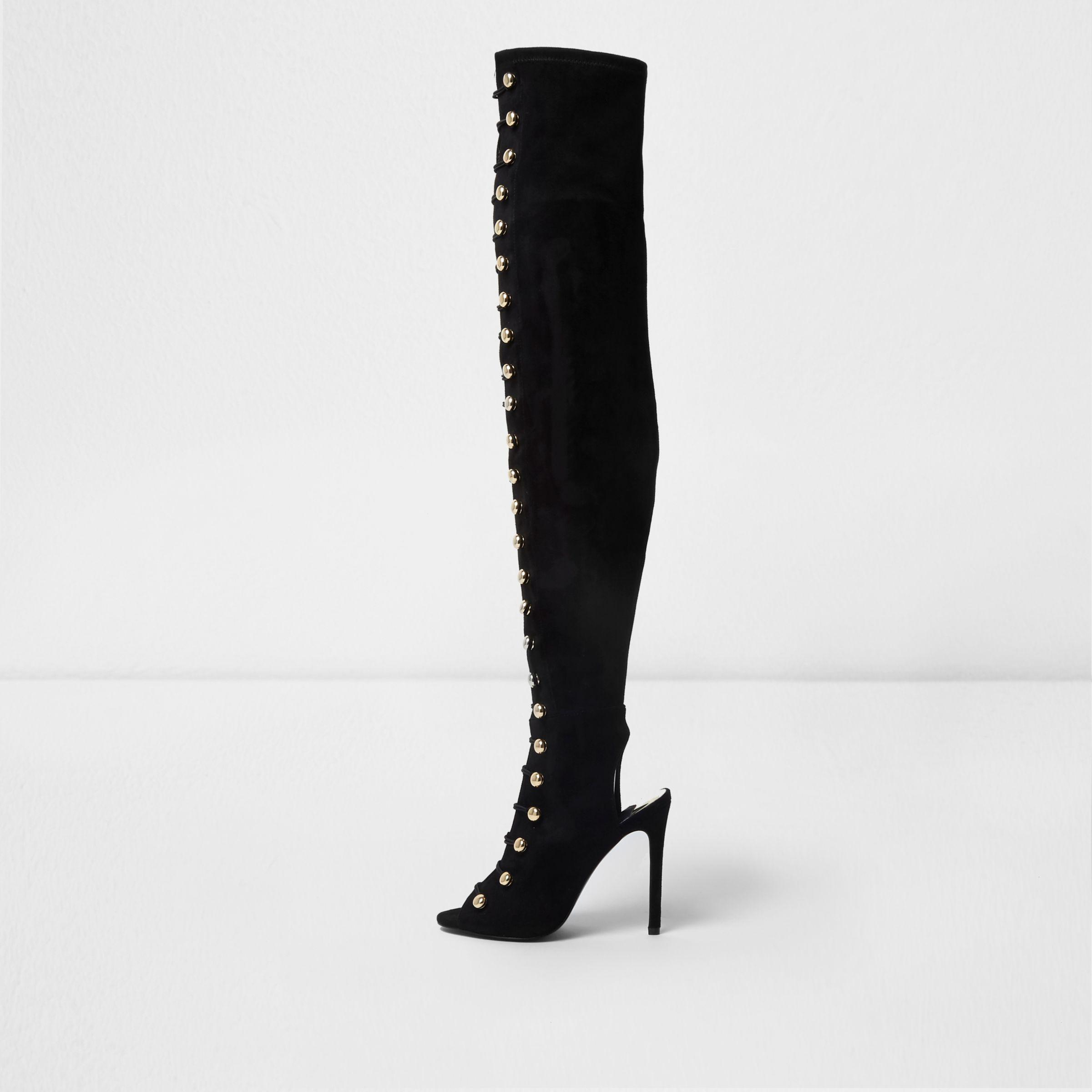 8c97738dc3af River Island Black Over The Knee Peep Toe Military Boots in Black - Lyst