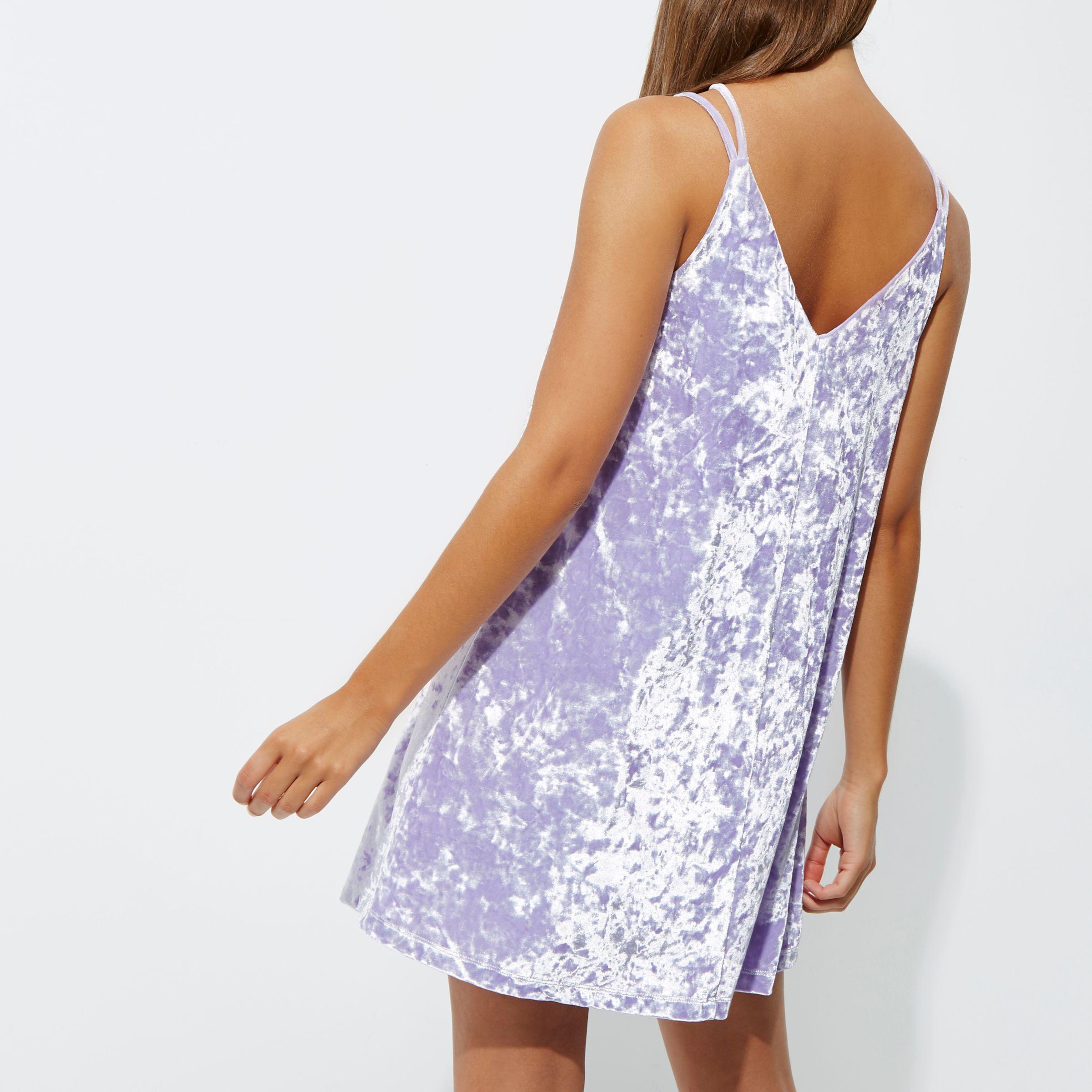 89dd3408d588 River Island Light Purple Velvet Cross Strap Slip Dress in Purple - Lyst