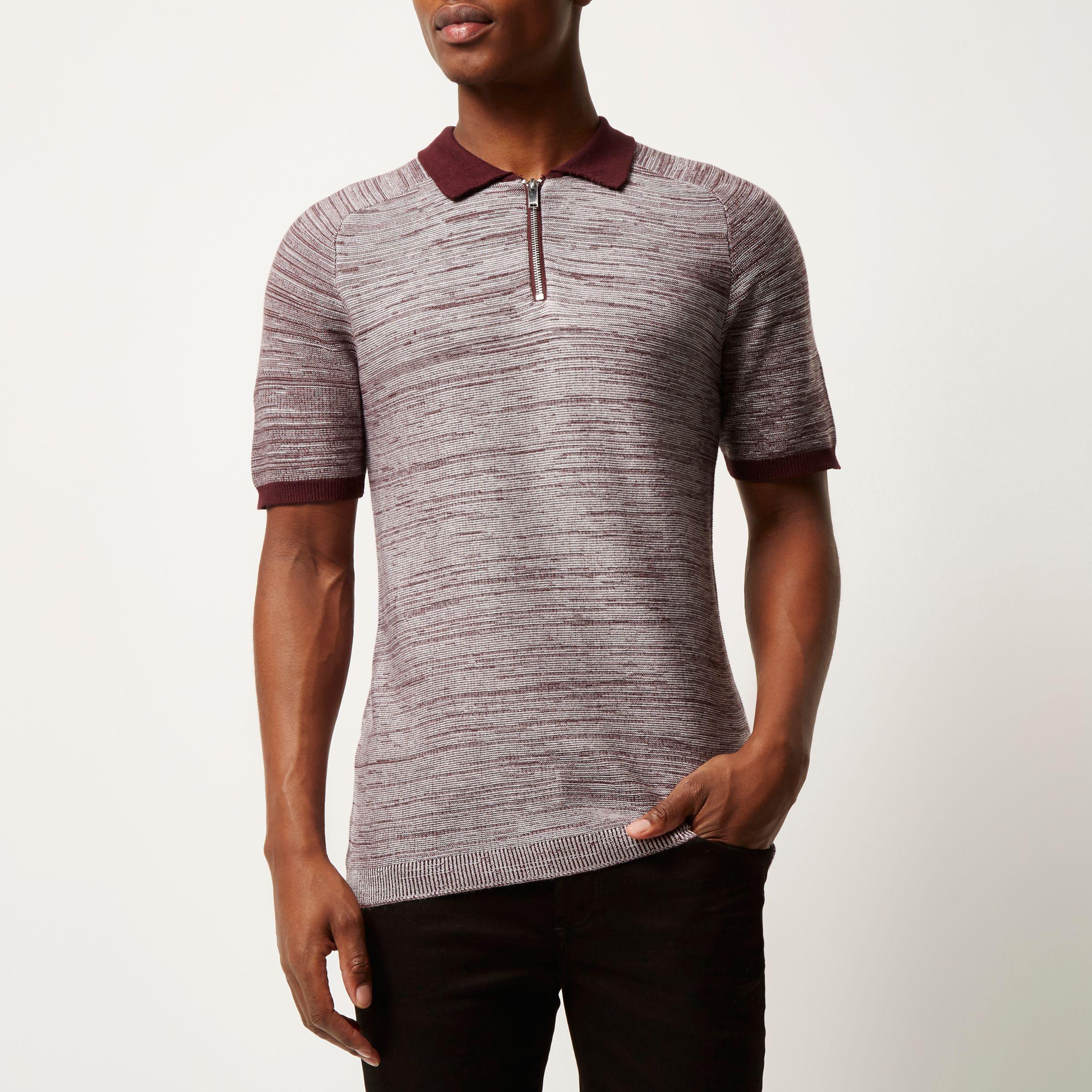 3b5f4fe3 River Island Burgundy Textured Zip-up Polo Shirt for Men - Lyst